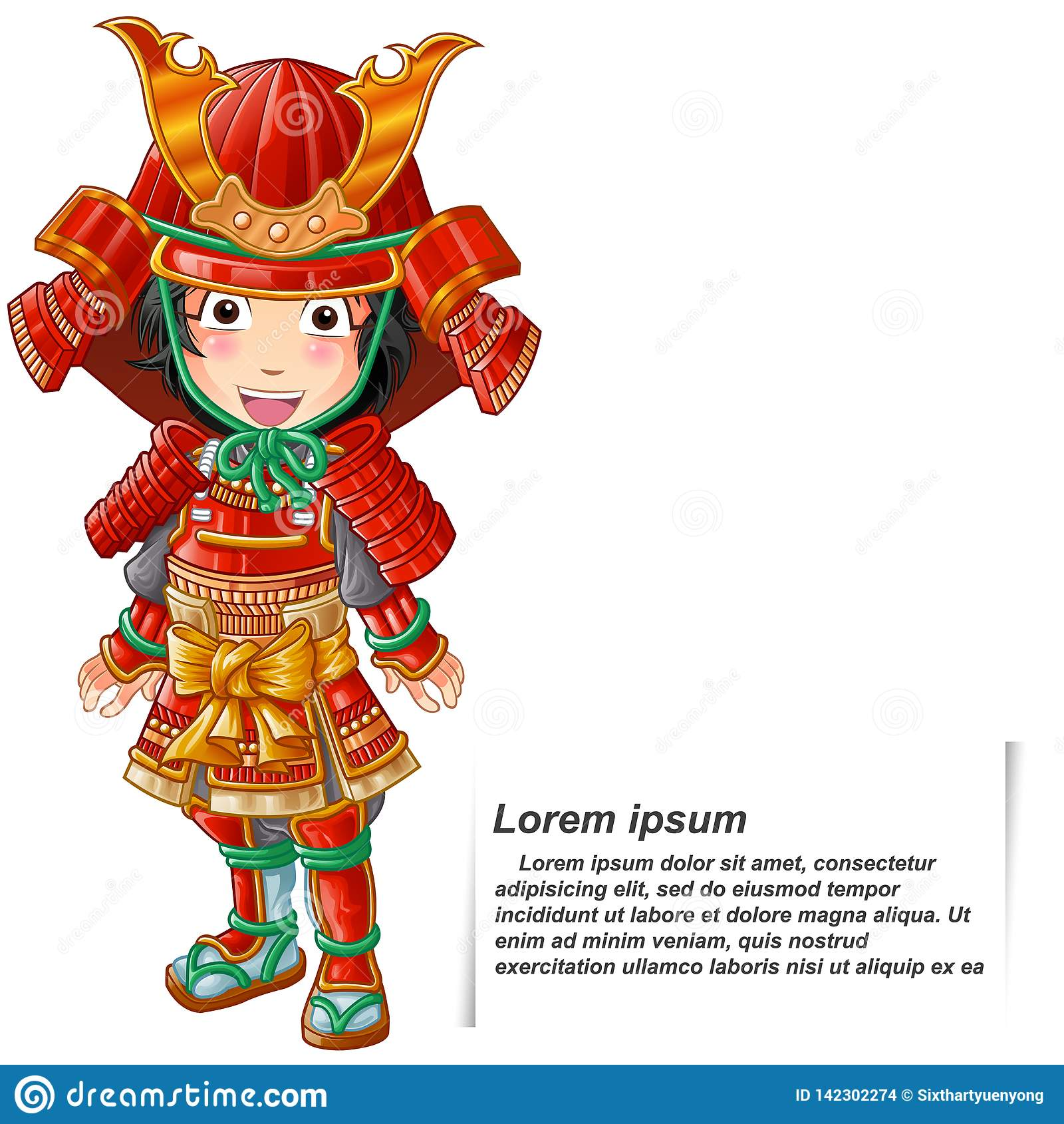 Persona isolata vettore nel vestito dell armatura del samurai