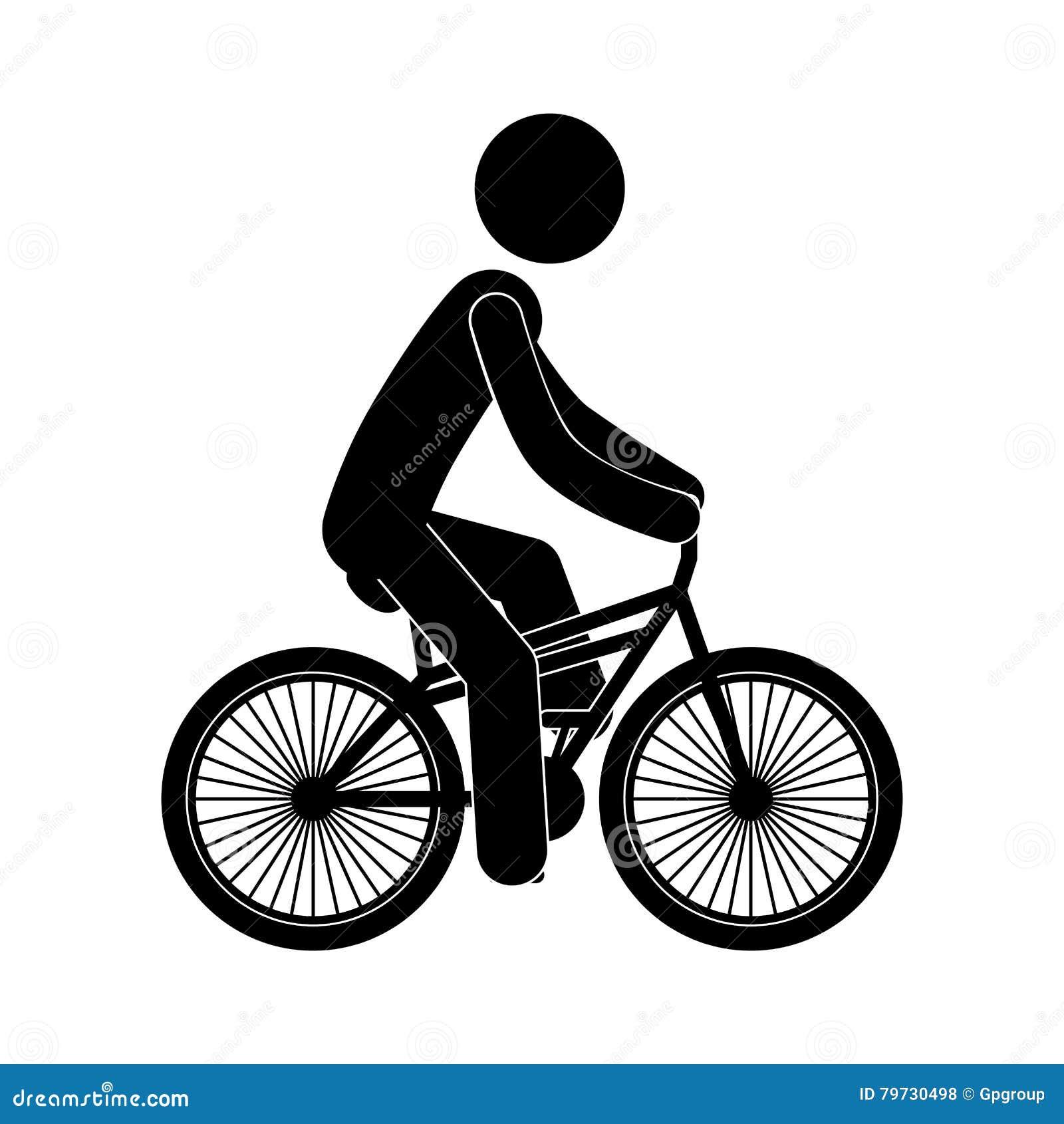 Persona negra de la silueta en bicicleta
