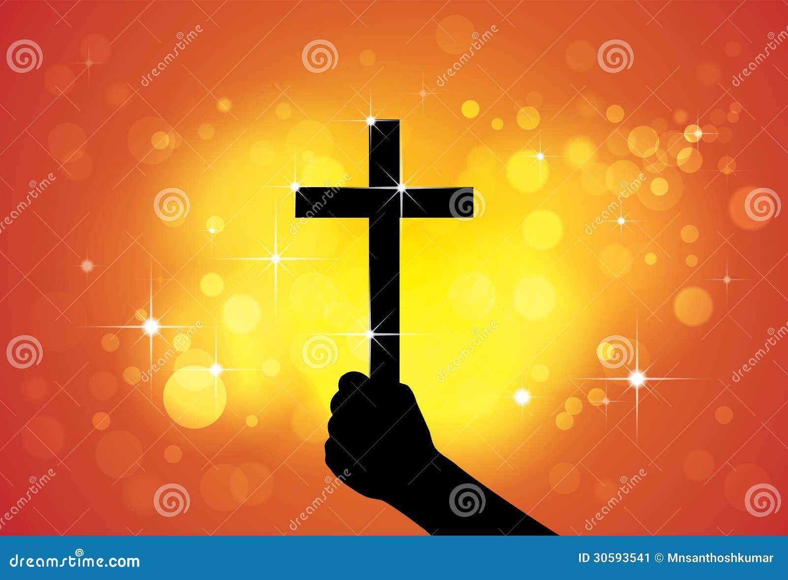 Persona que lleva a cabo la cruz santa, símbolo religioso cristiano, a disposición