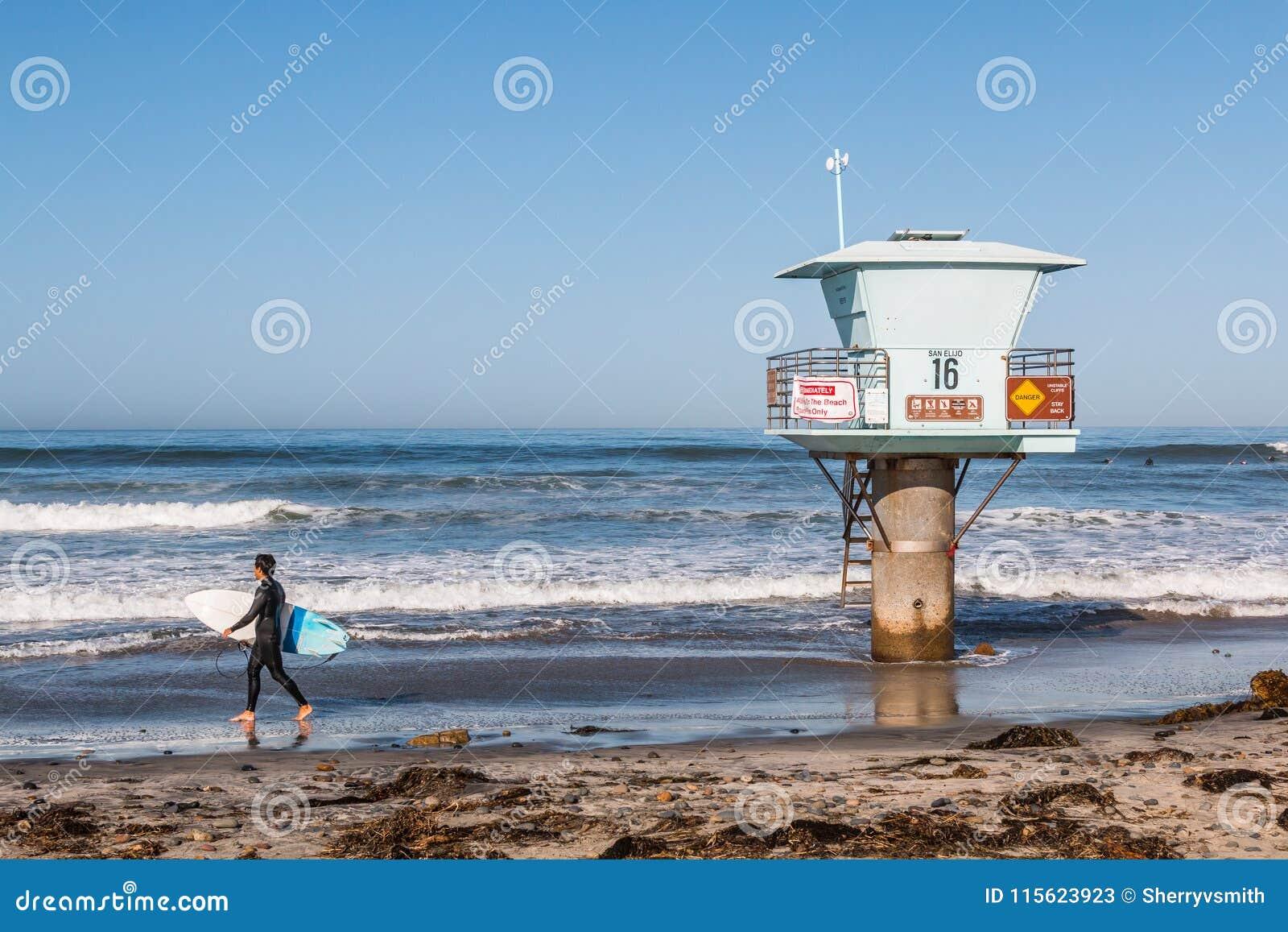 Persona que practica surf de sexo masculino solitaria en la playa de estado de San Elijo en San Diego County