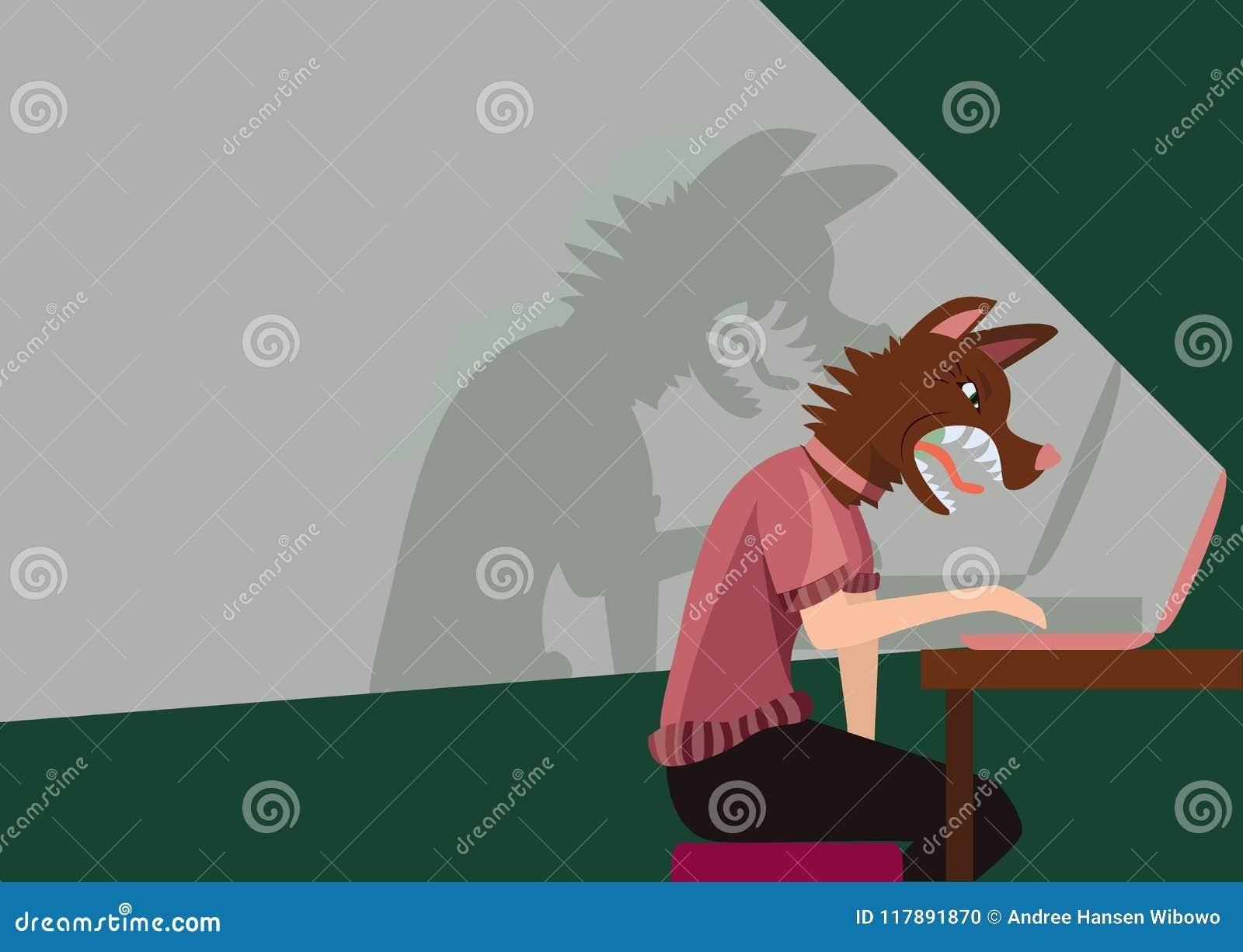 Persona que usa un ordenador con un perro agresivo como cabeza
