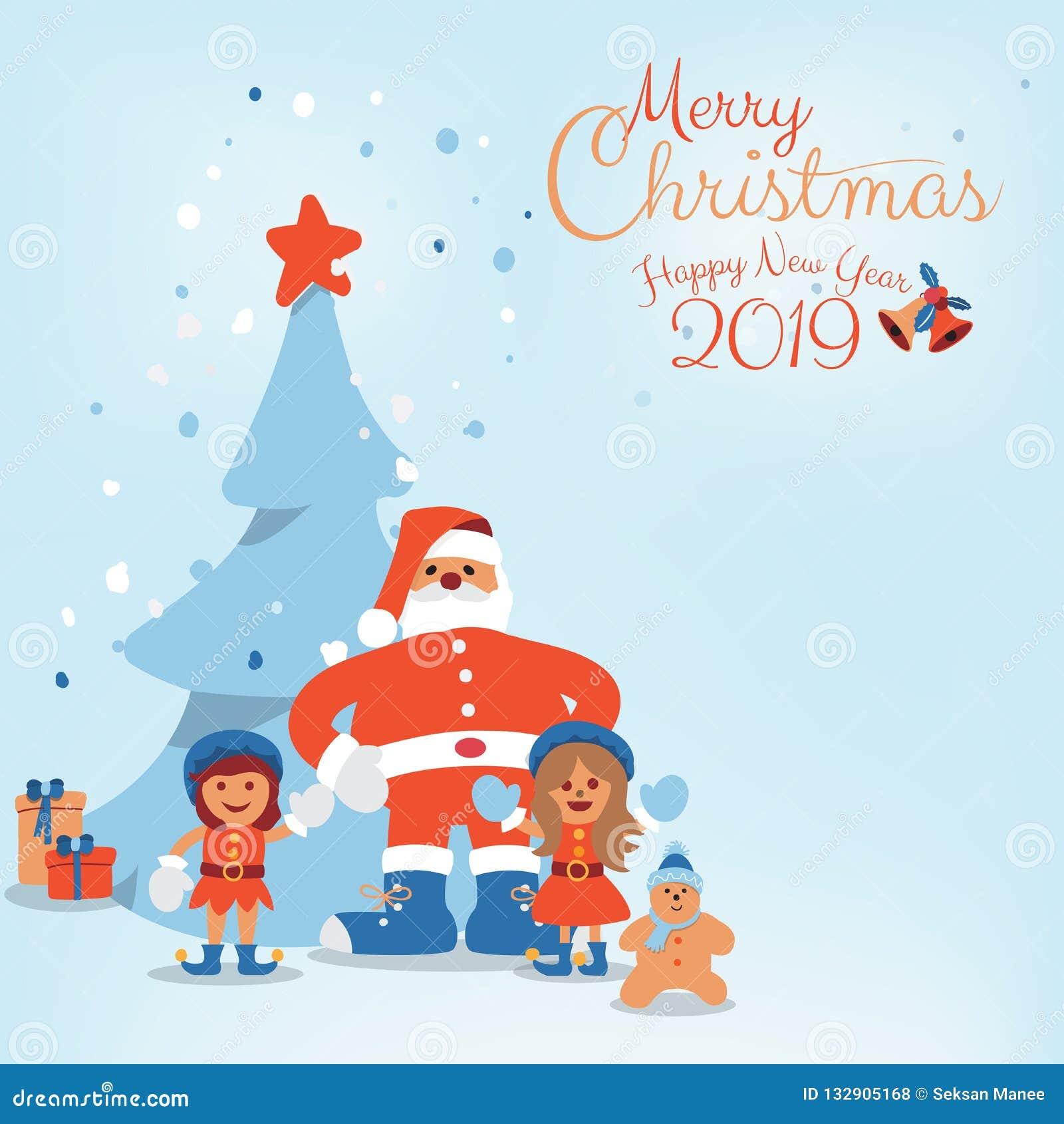 Personagem de banda desenhada da árvore de Santa Claus, das crianças e de Natal com Feliz Natal escrito mão