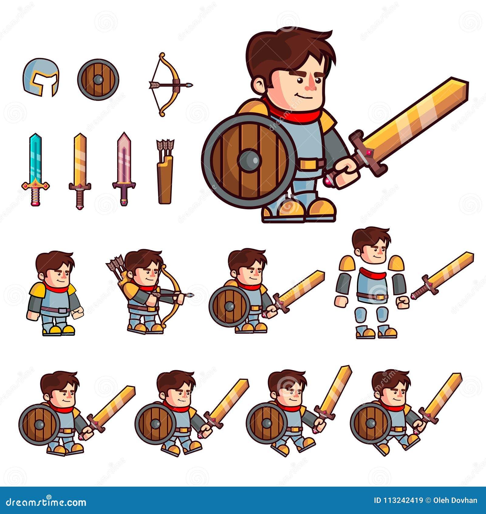 Personagem de banda desenhada do cavaleiro O caráter é preparado para a animação ou a criação de jogos de vídeo da fantasia Carát