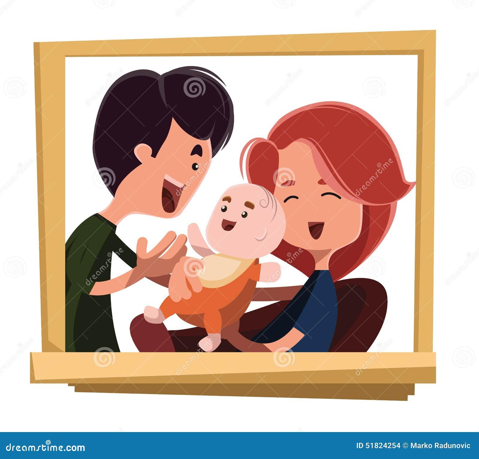 Personagem de banda desenhada feliz da ilustração do retrato da família