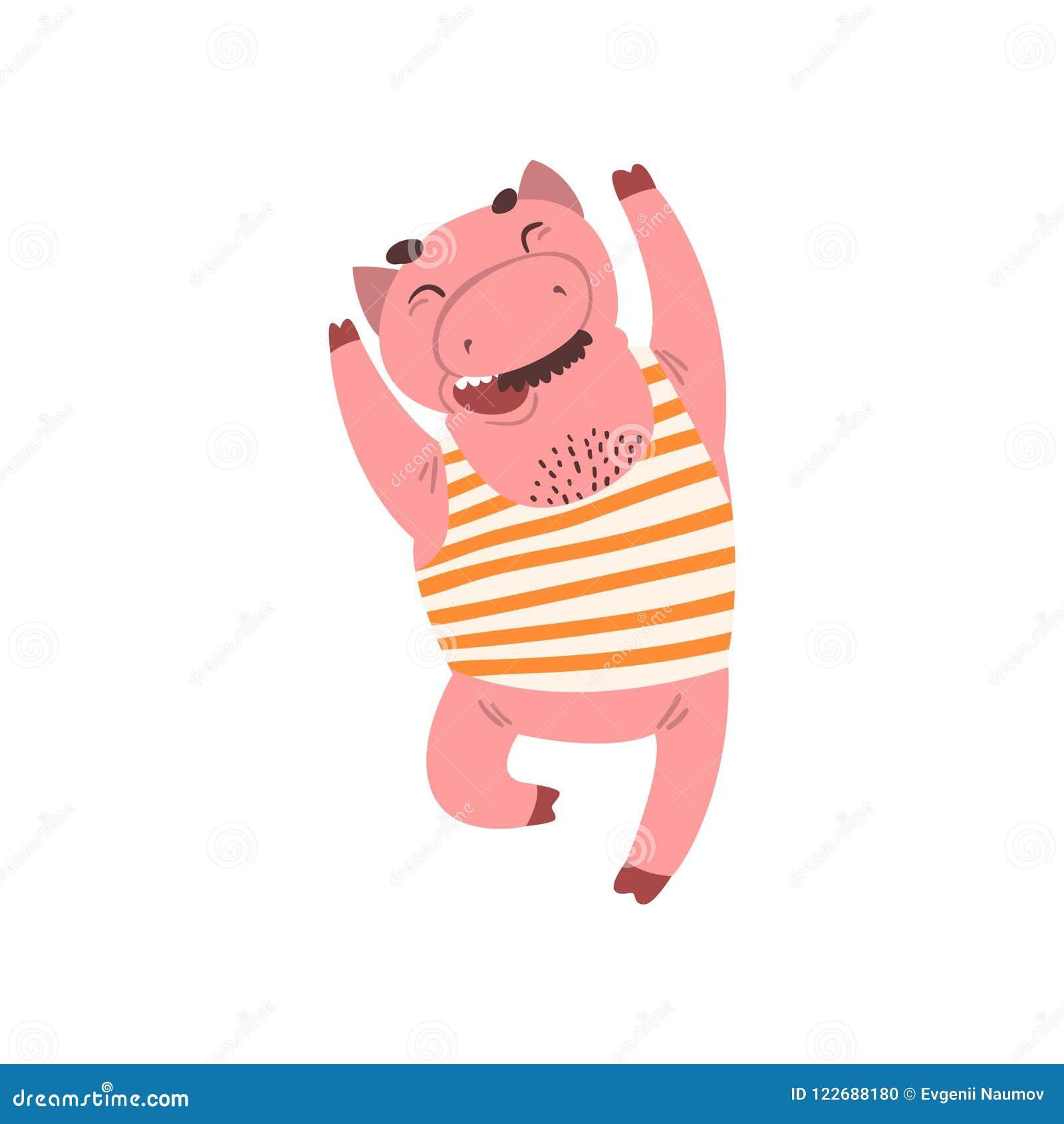 Personagem de banda desenhada masculino de sorriso feliz do porco na ilustração de salto do vetor da camiseta interioa listrada e