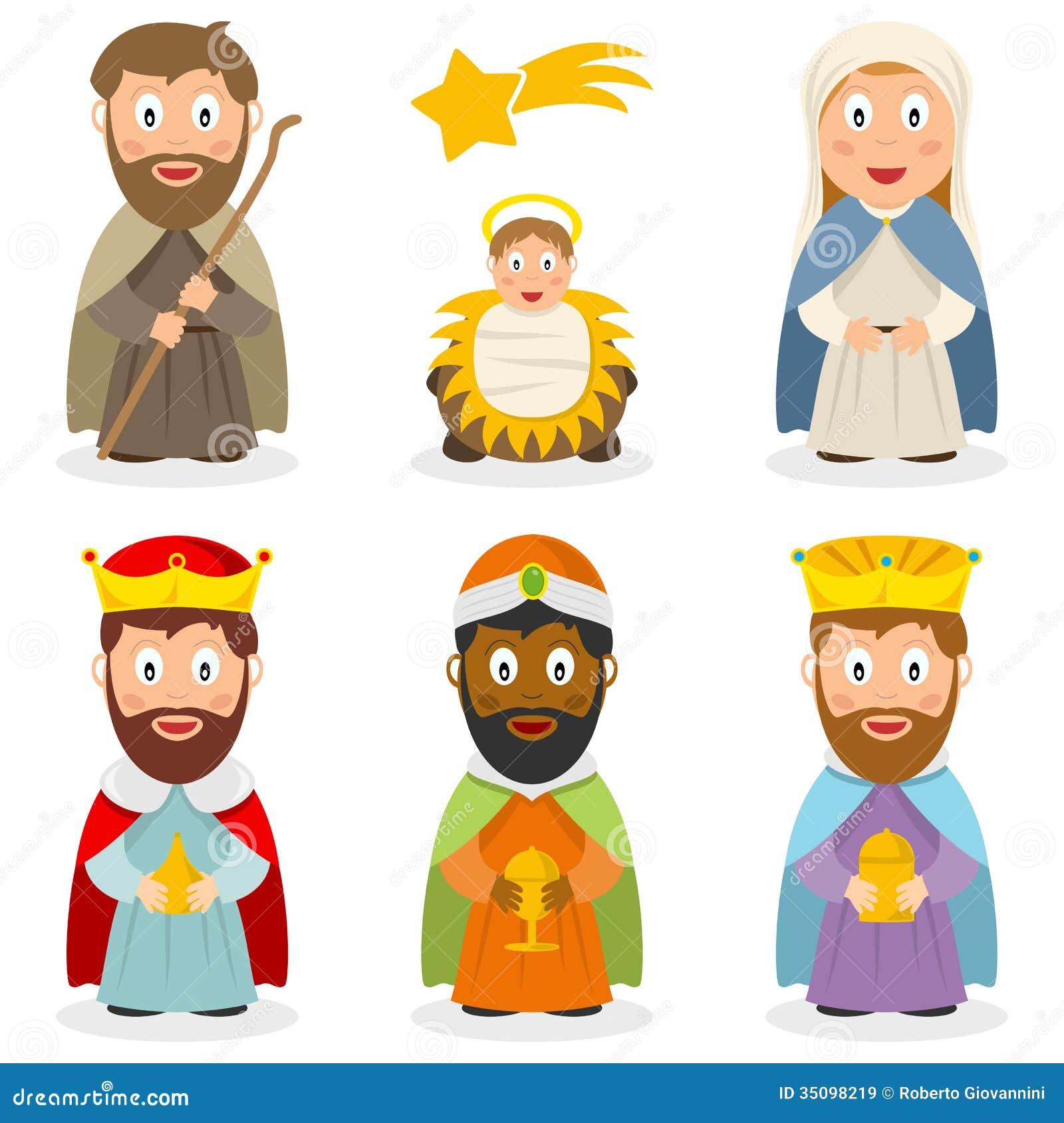 Personagens de banda desenhada da natividade ajustados