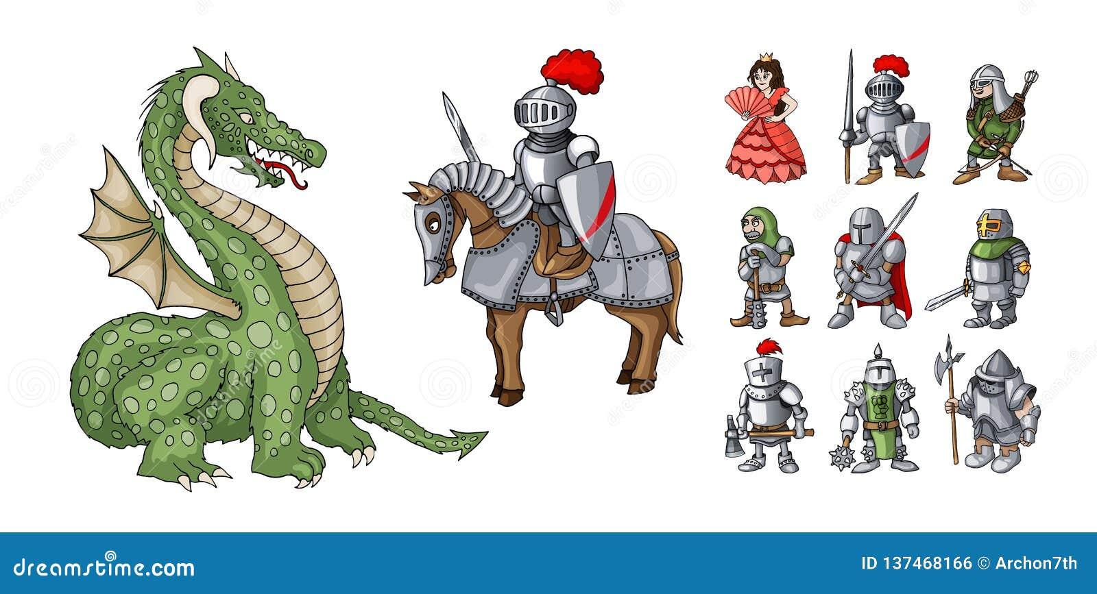 Personagens de banda desenhada dos contos de fadas Cavaleiro e dragão da fantasia, princesa e cavaleiros