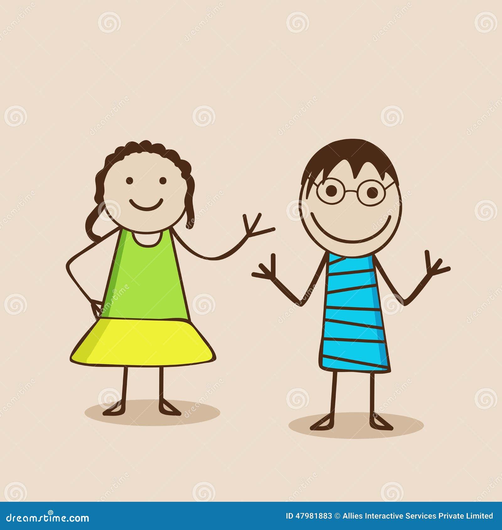 Personaggi dei cartoni animati con le espressioni felici