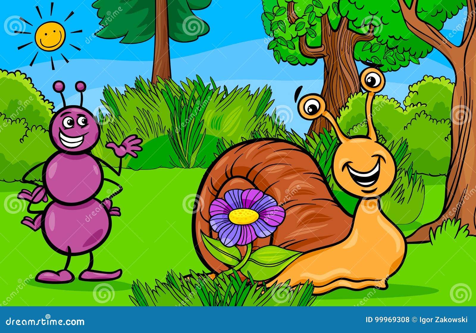 Personaggi dei cartoni animati dellanimale della lumaca e della
