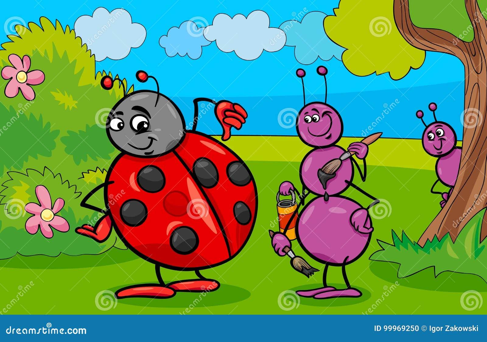 Personaggi dei cartoni animati dellinsetto della coccinella e della