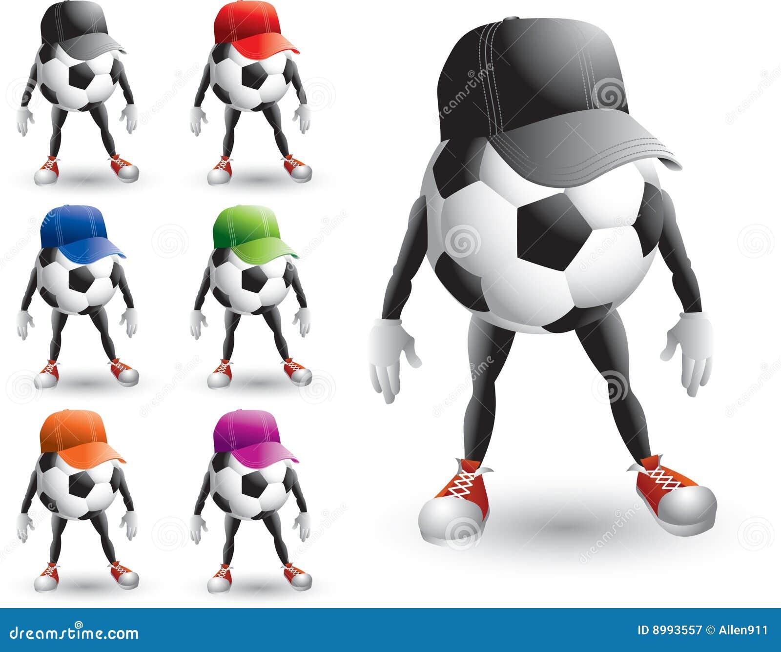 Personaggi dei cartoni animati della sfera di calcio con i