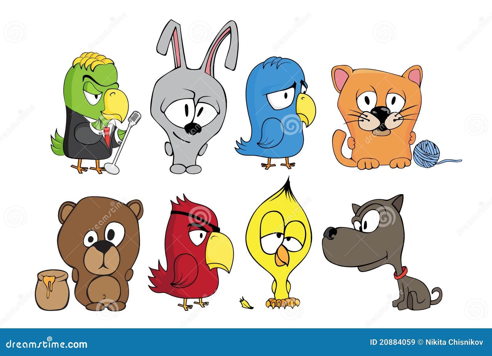 Personaggi dei cartoni animati divertenti illustrazione