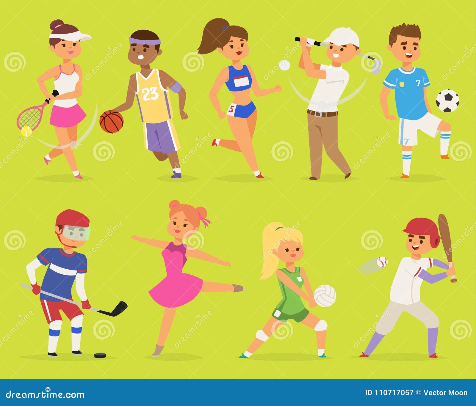 Personaggi dei cartoni animati ragazzo di vettore di Ssportsmen e pallacanestro della gente della ragazza, hockey, baseball, eseg