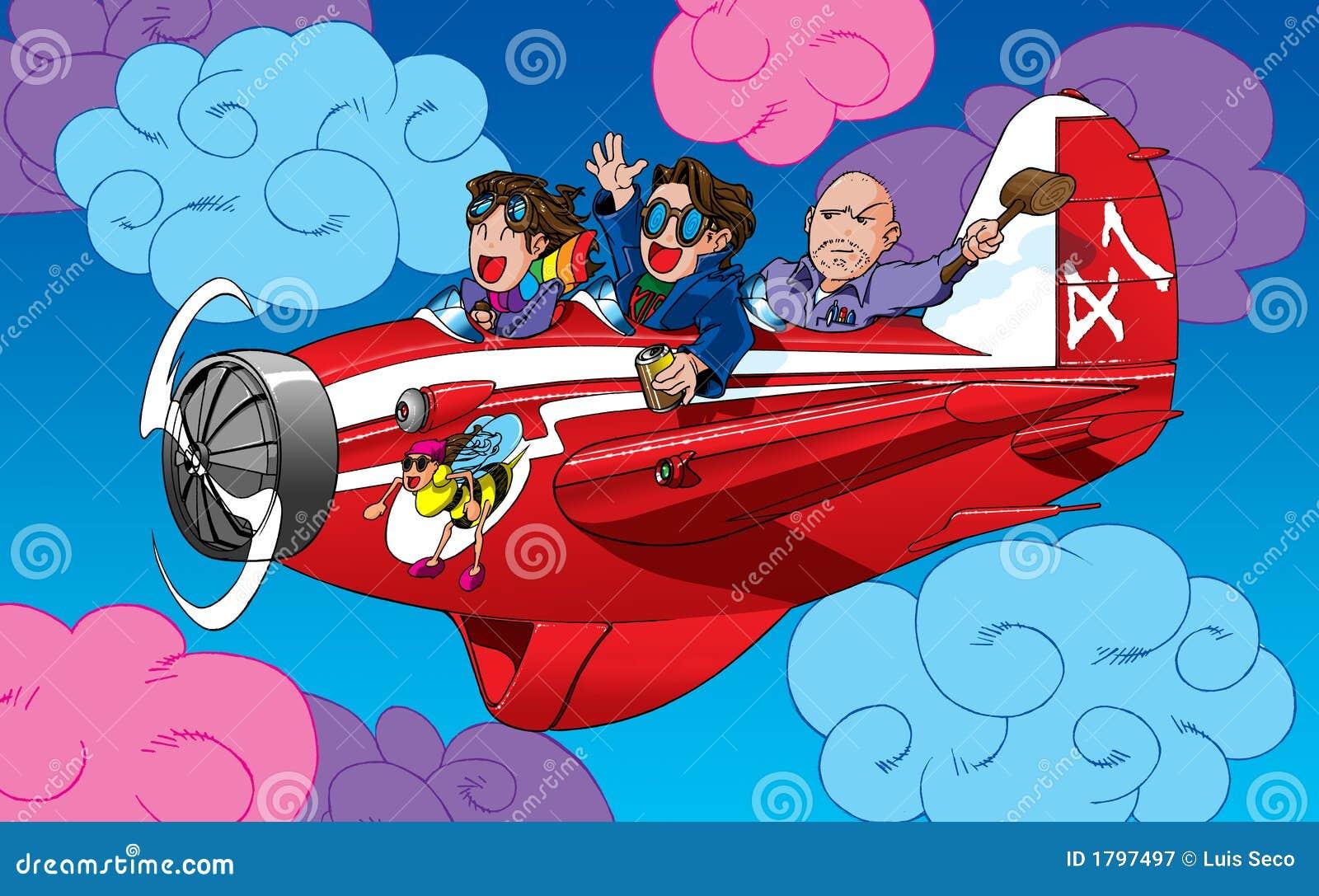 Personaggi dei cartoni animati in un aereo