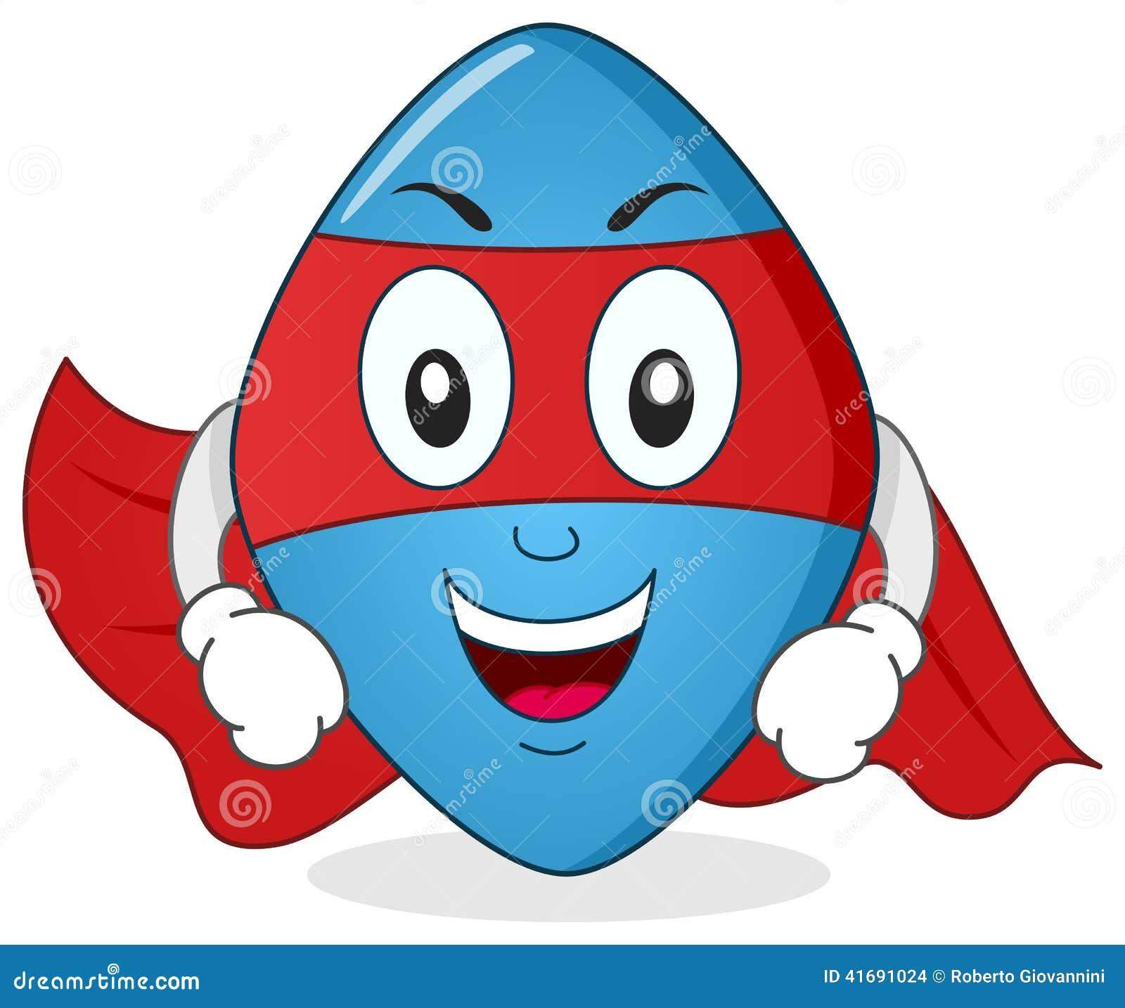 Personaggio dei cartoni animati blu del supereroe della pillola