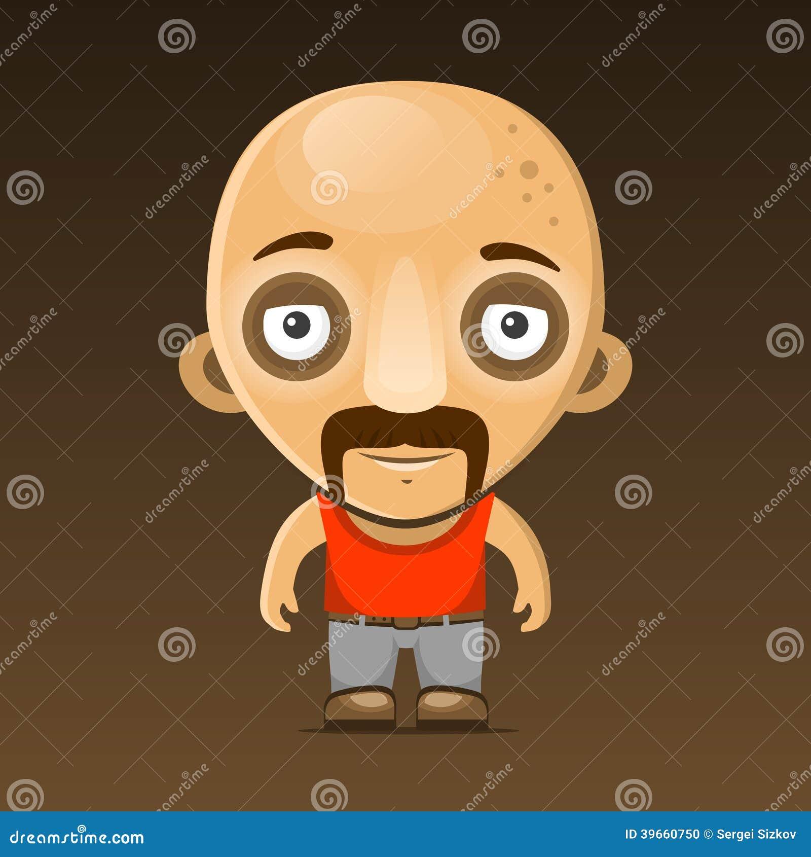 Personaggio dei cartoni animati calvo dell uomo con i baffi