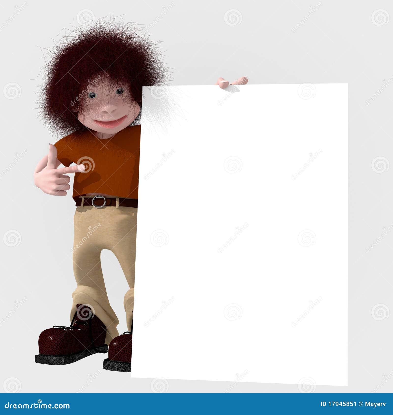 Personaggio dei cartoni animati con la grande scheda