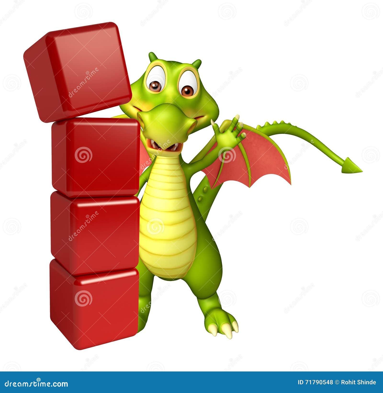 Personaggio dei cartoni animati del drago di divertimento con il livello