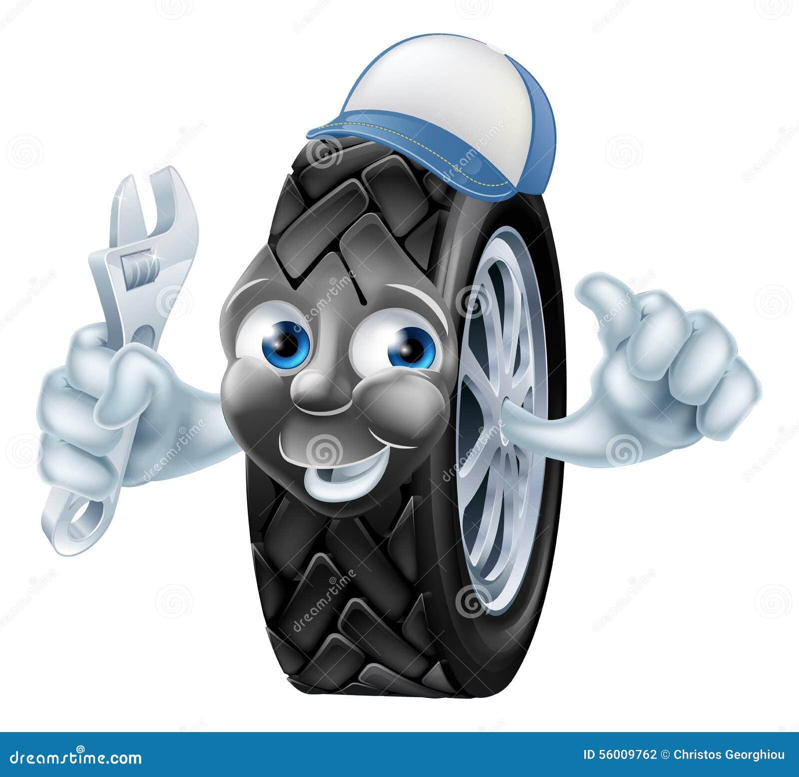 Personaggio dei cartoni animati del meccanico della gomma
