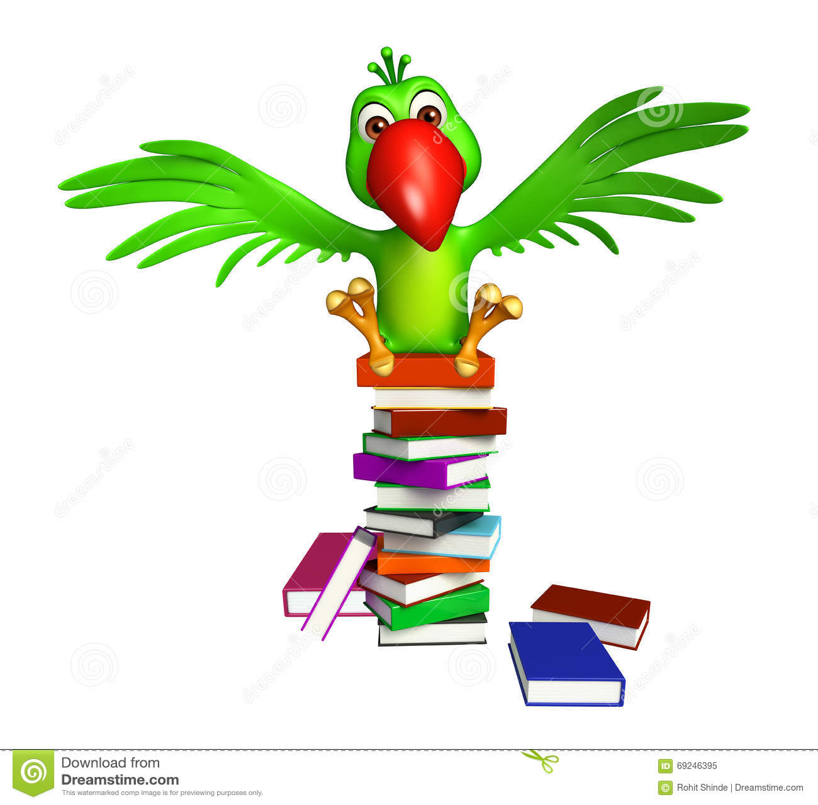 Personaggio dei cartoni animati del pappagallo con i libri