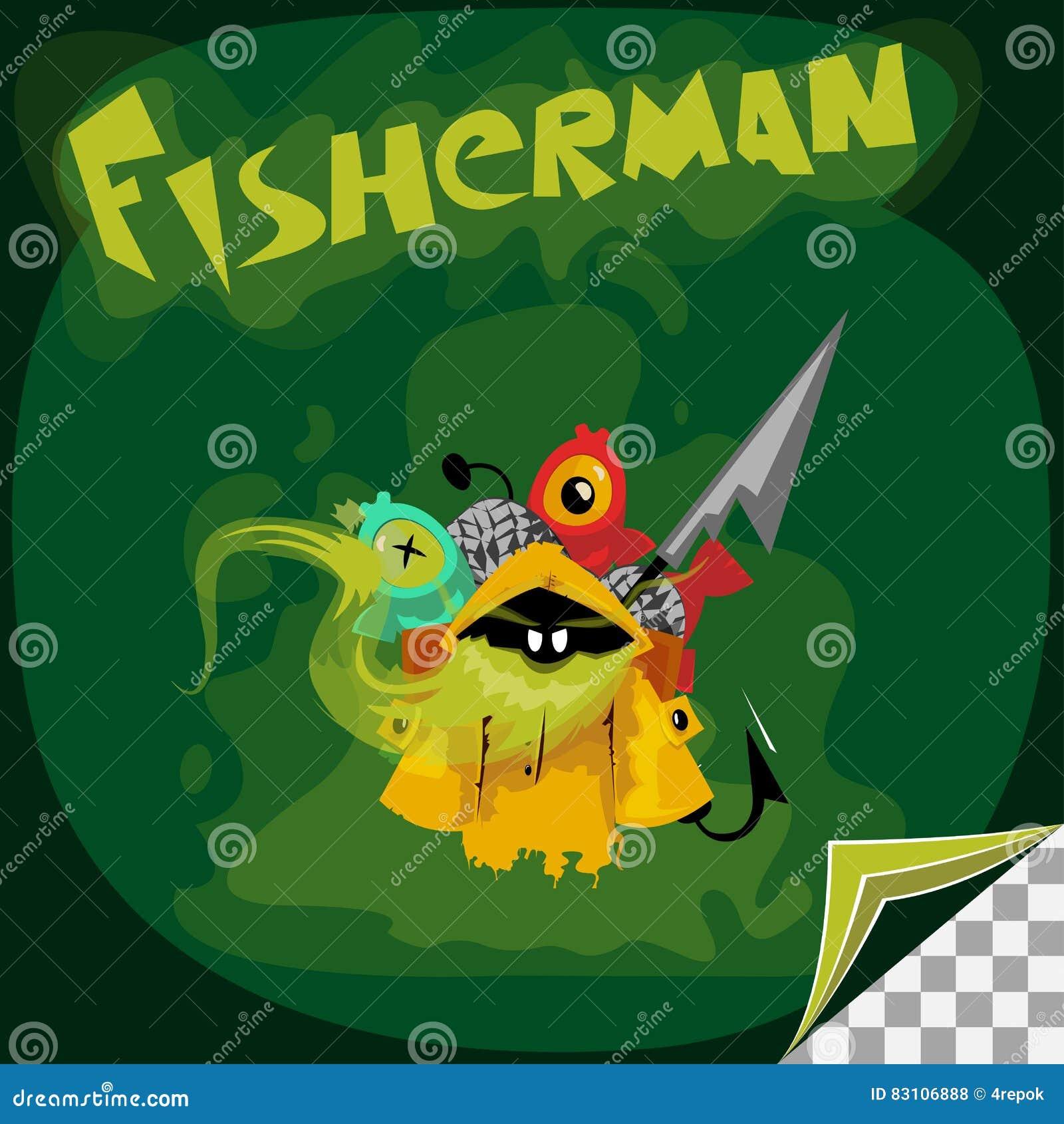 Personaggio dei cartoni animati del pescatore del fantasma