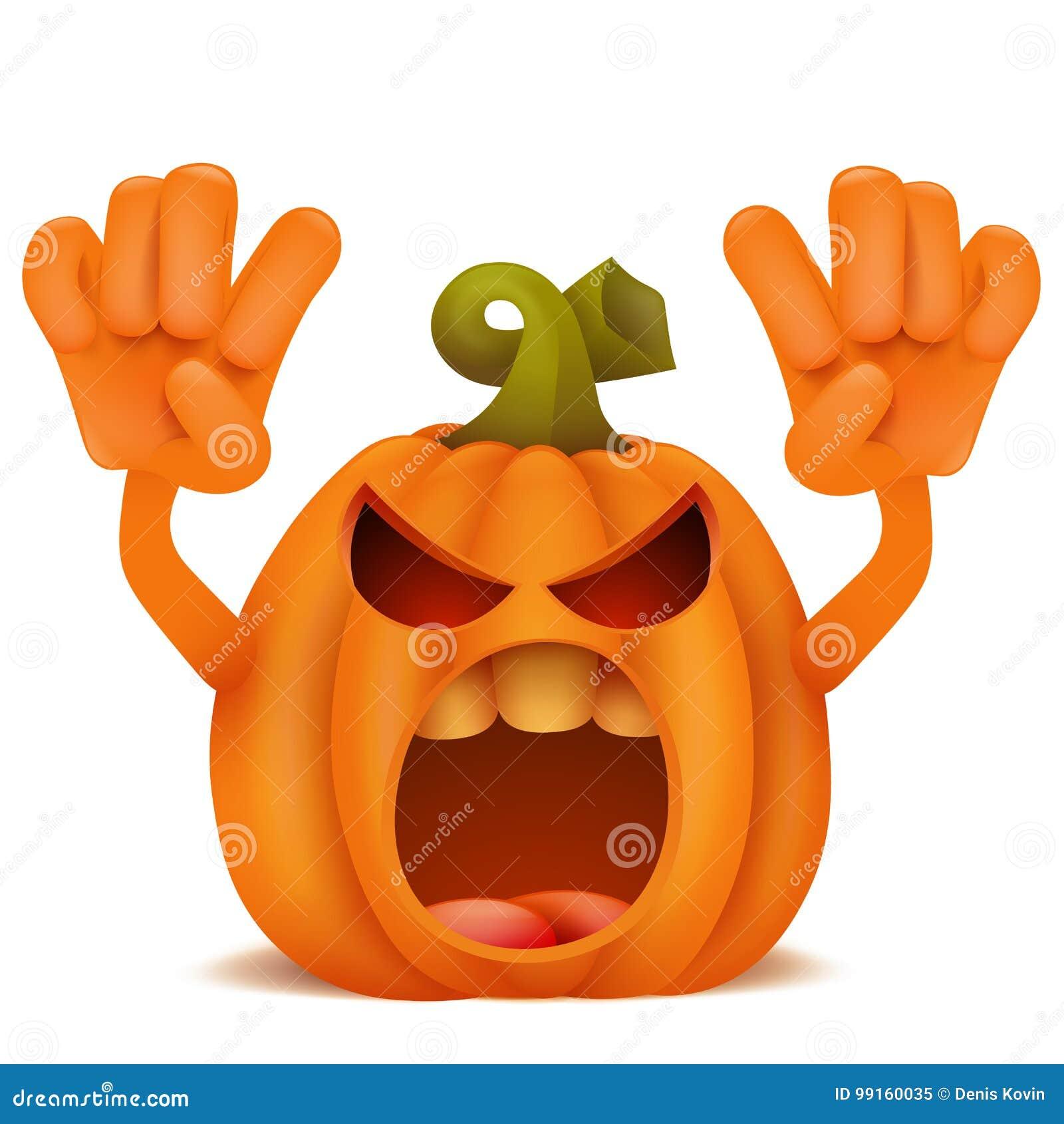 Zucche Di Halloween Cartoni Animati.Personaggio Dei Cartoni Animati Dell Emoticon Di Jack Lantern Della