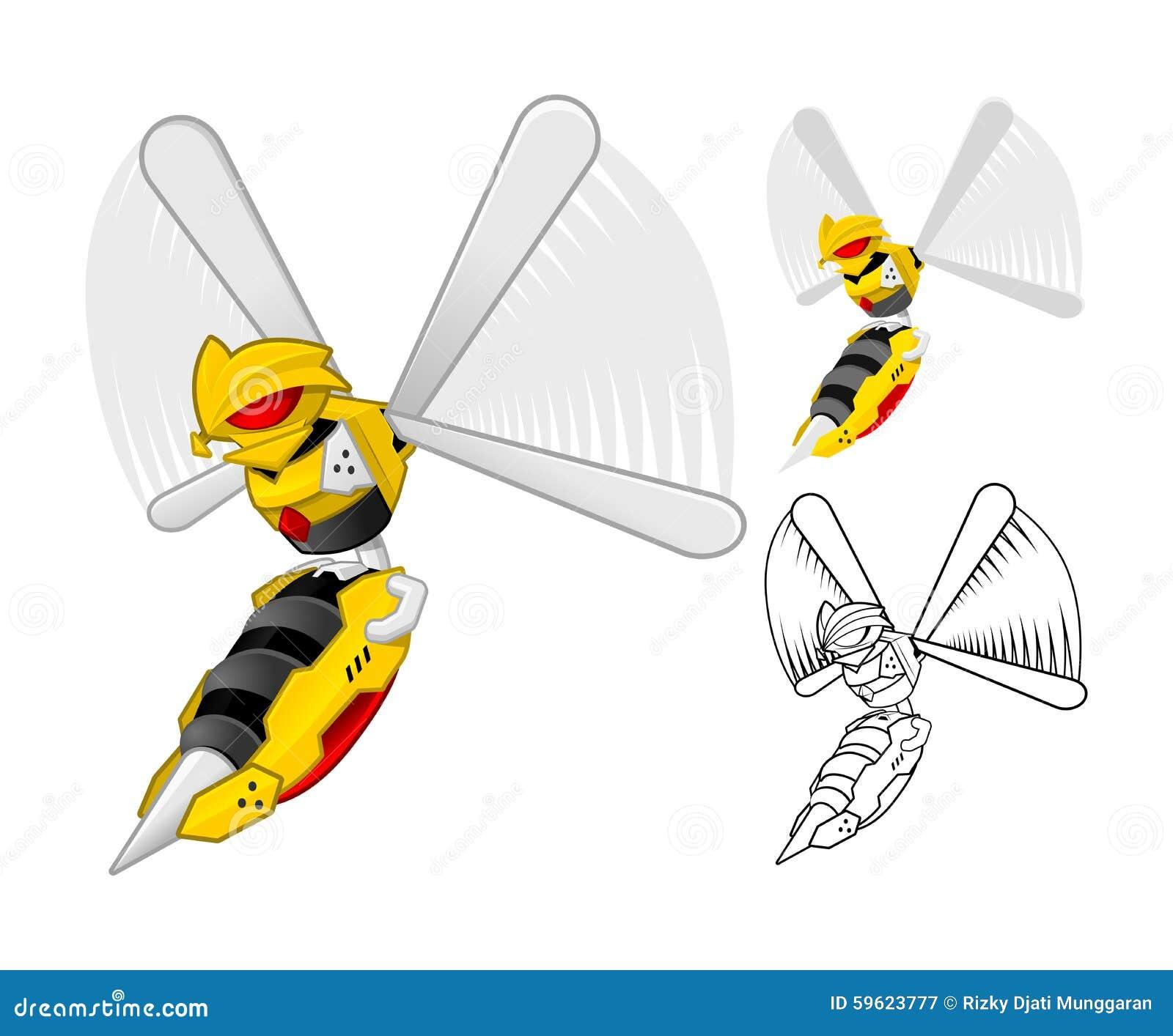 Personaggio dei cartoni animati della vespa del robot