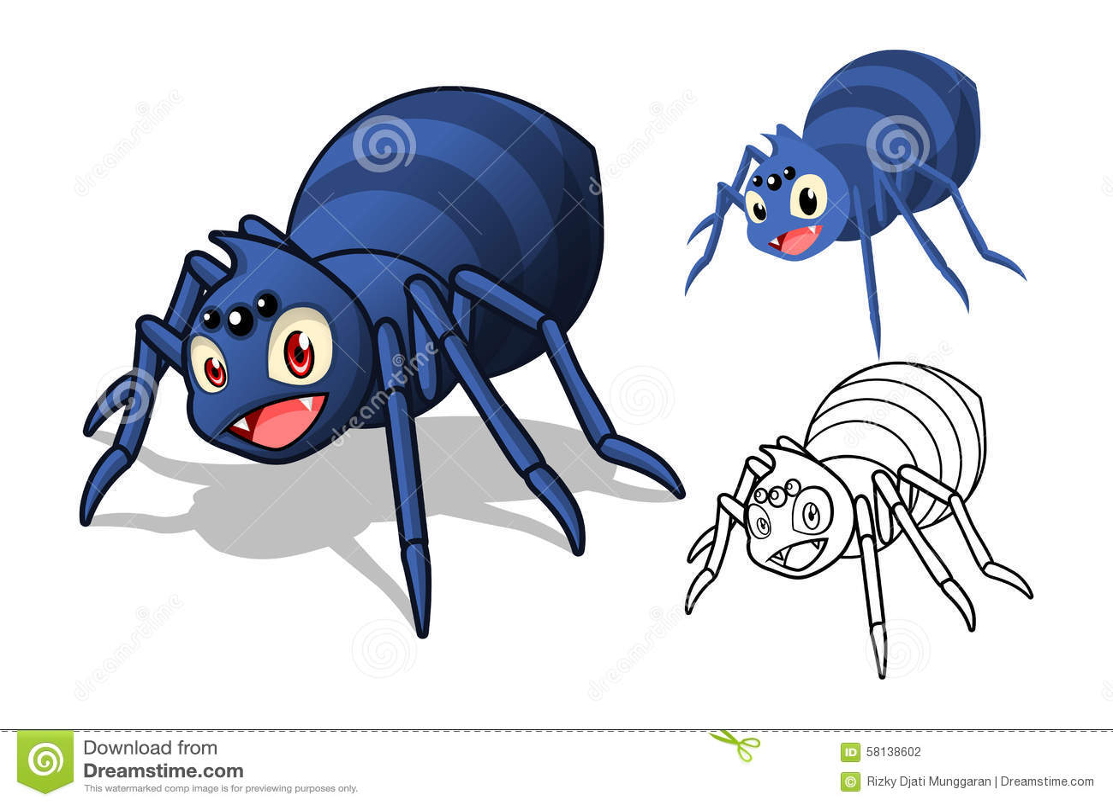 Personaggio Dei Cartoni Animati Dettagliato Del Ragno Con