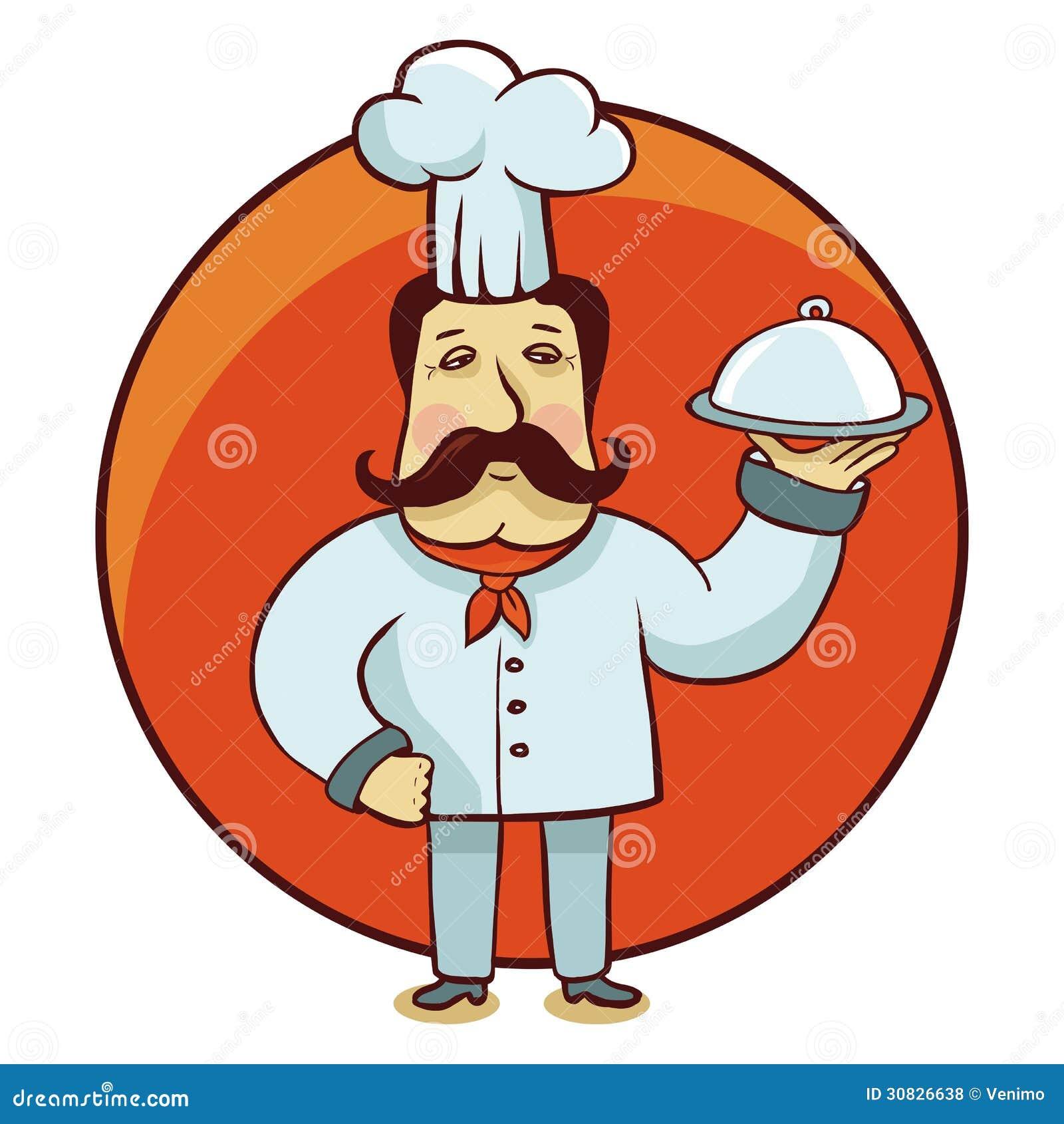 Personaggio dei cartoni animati di vettore - cuoco del cuoco unico con il piatto