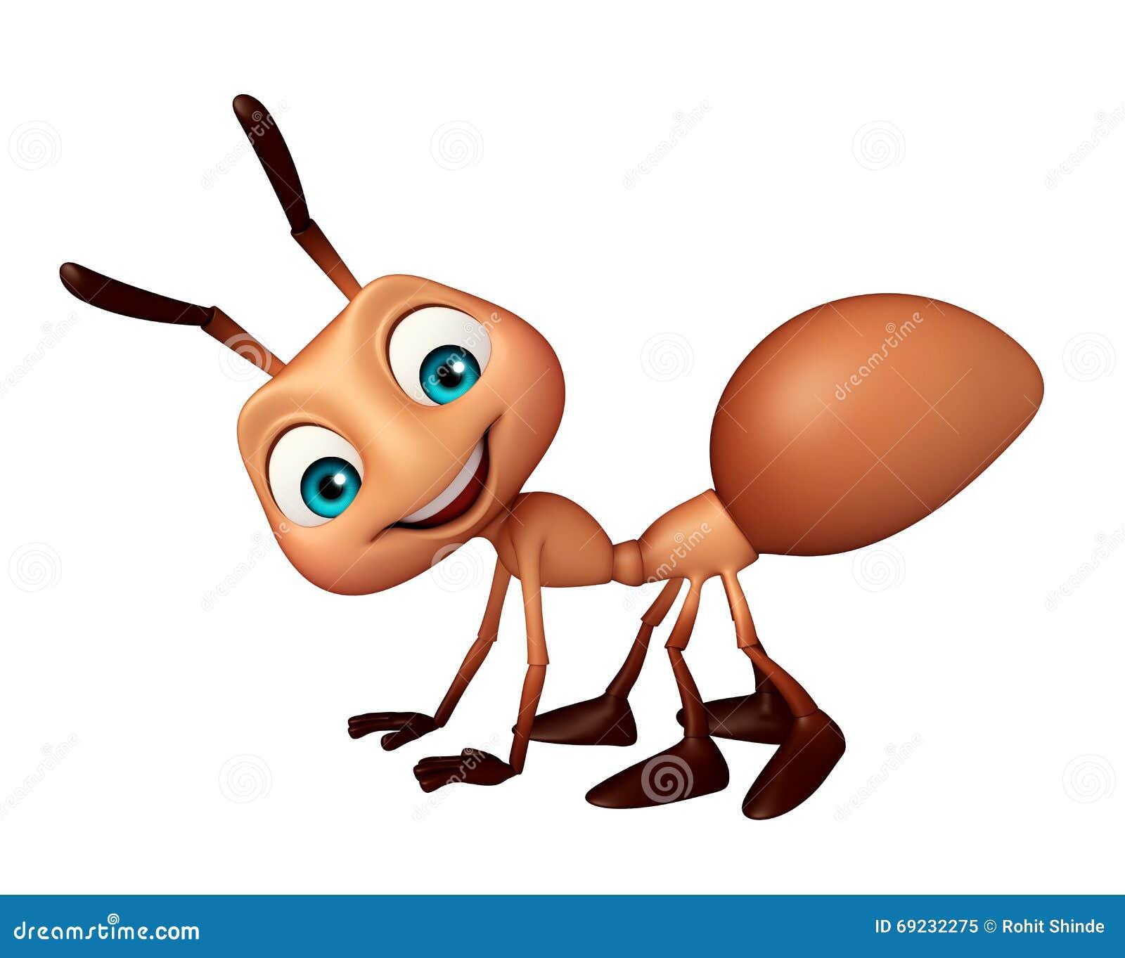 Personaggio dei cartoni animati divertente della formica