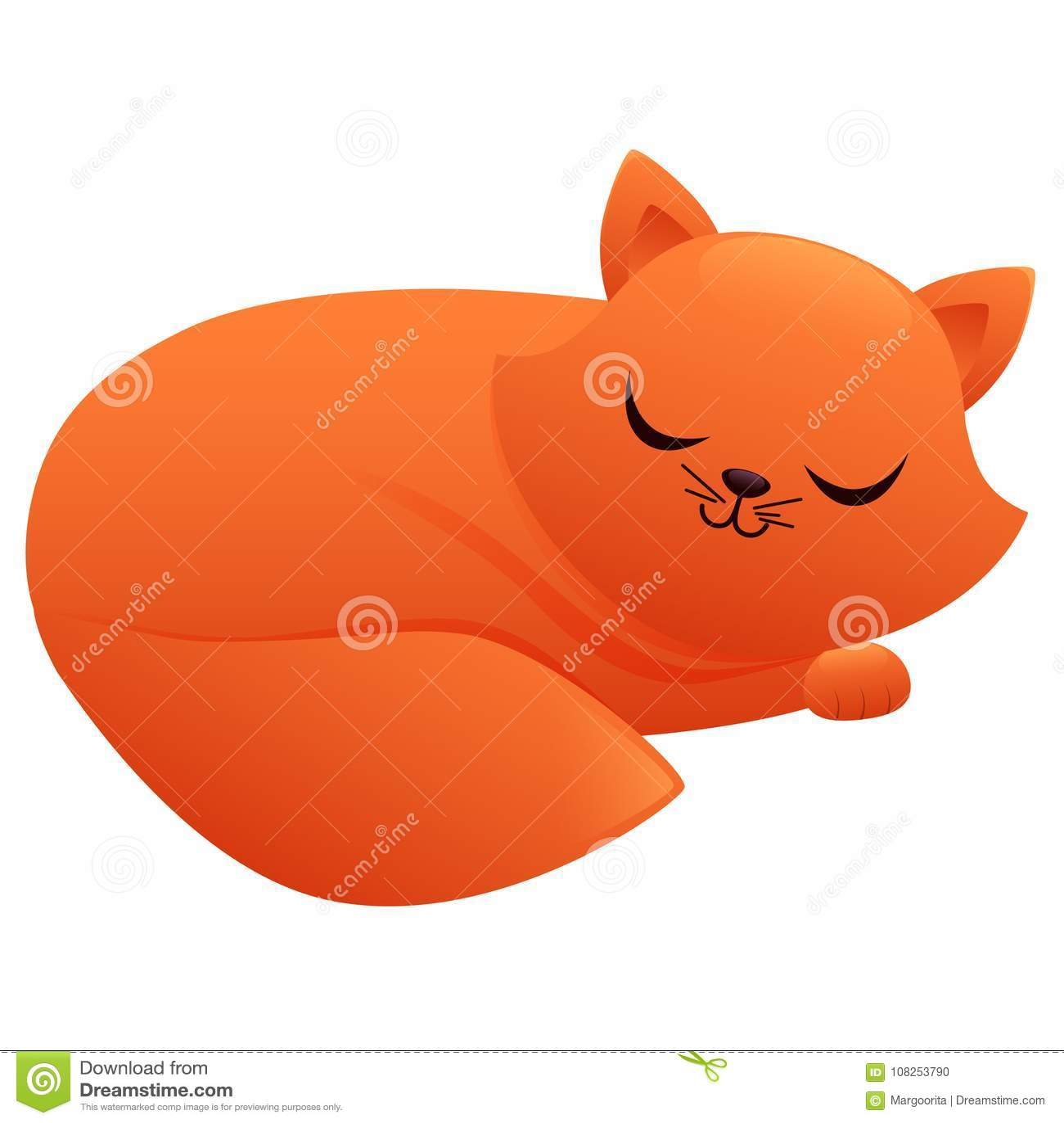 Personaggio dei cartoni animati sveglio addormentato del gatto