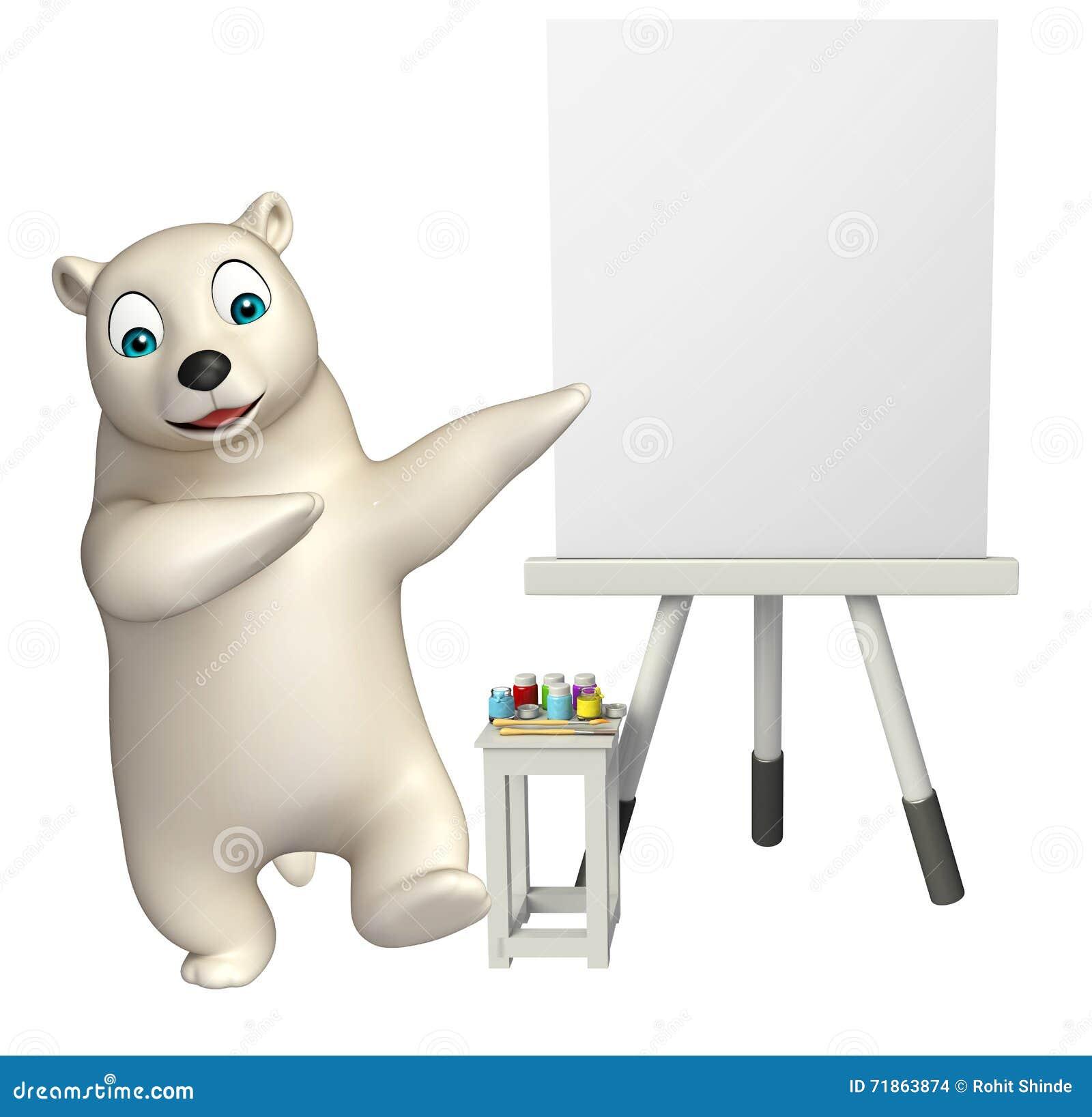 Personaggio dei cartoni animati sveglio dell orso polare con il