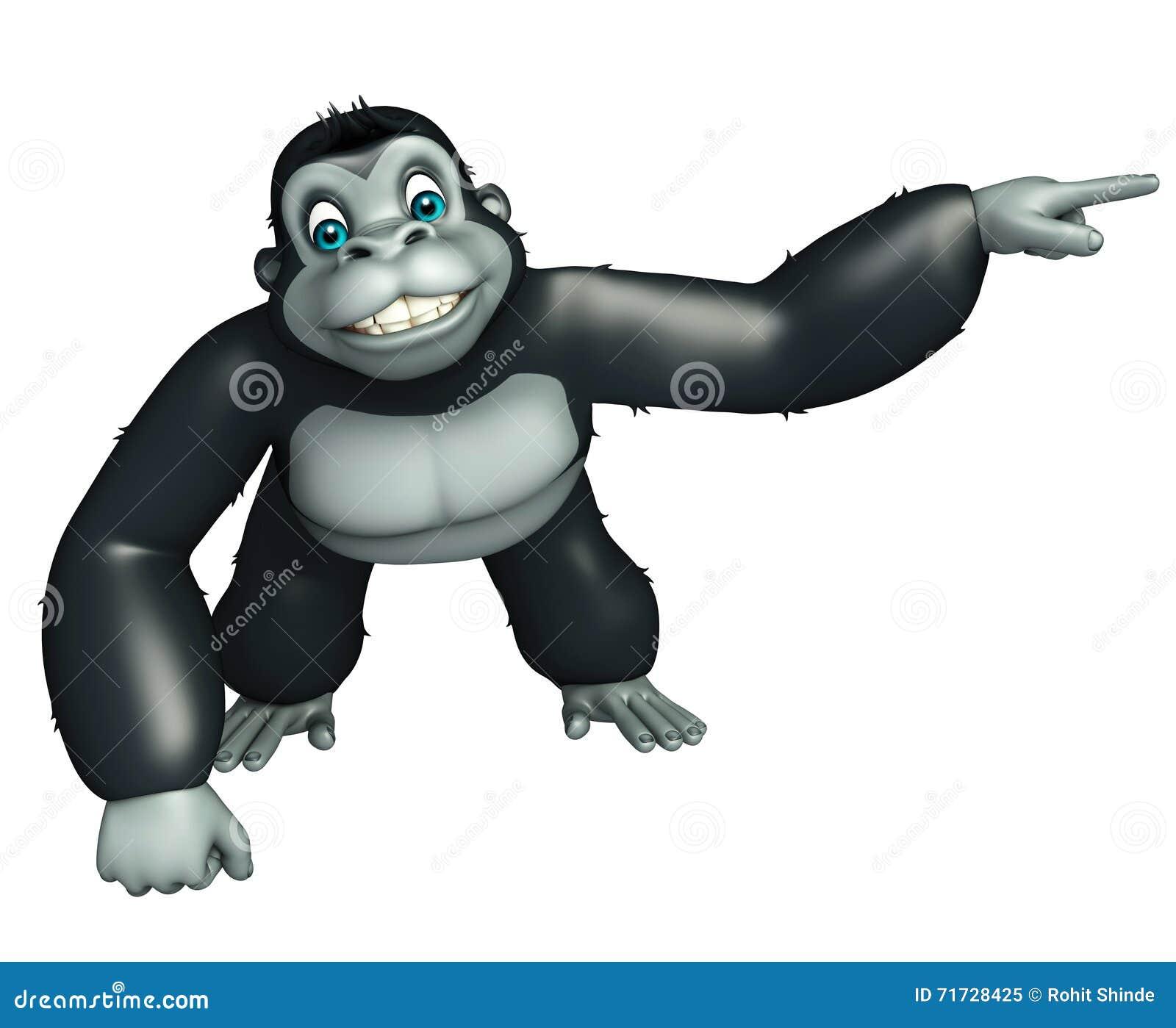 Personaggio dei cartoni animati sveglio della gorilla con indicare