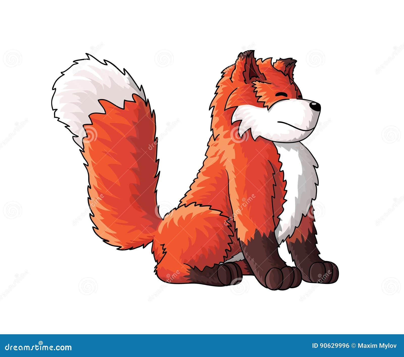 Personaggio dei cartoni animati sveglio della volpe illustrazione