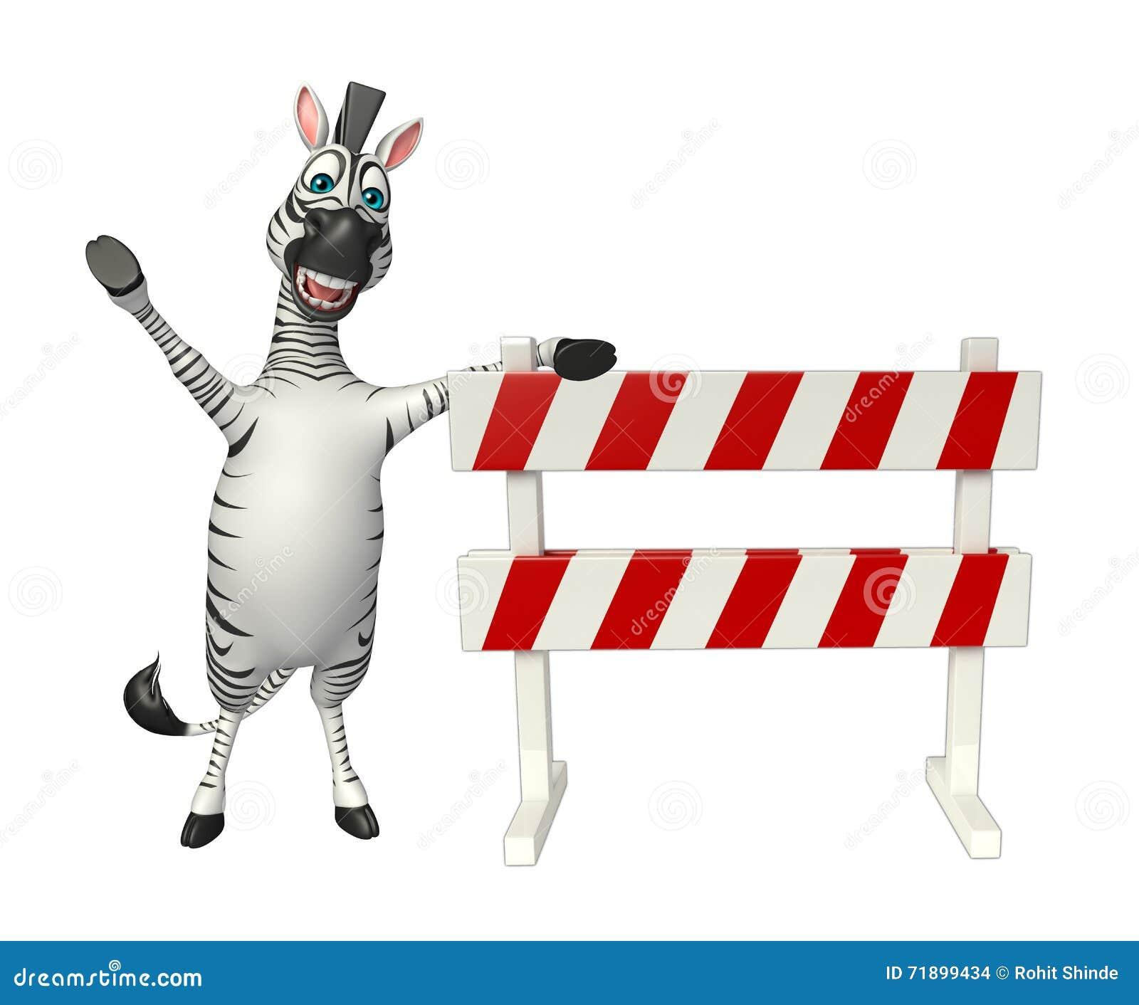 Personaggio dei cartoni animati sveglio della zebra con baracade