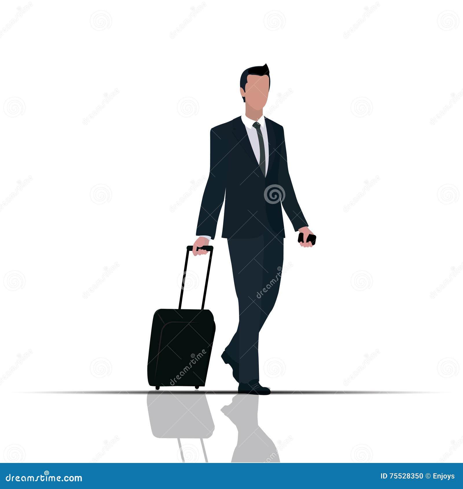Personaggio dei cartoni animati uomo daffari che viaggia in