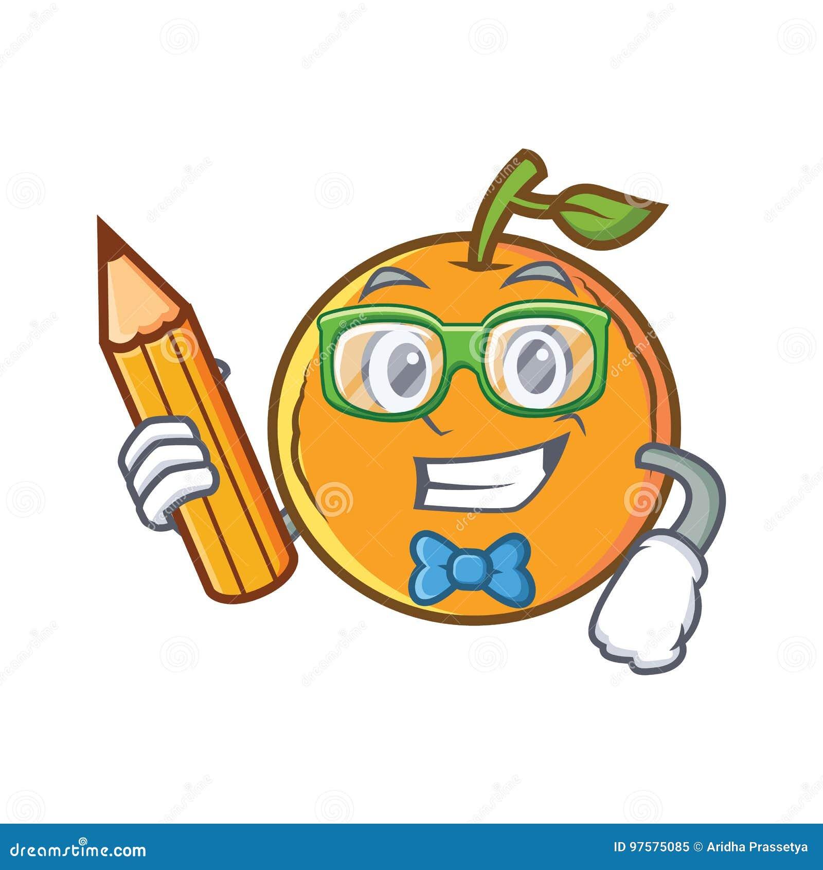 Personaje De Dibujos Animados Anaranjado De La Fruta Del Estudiante