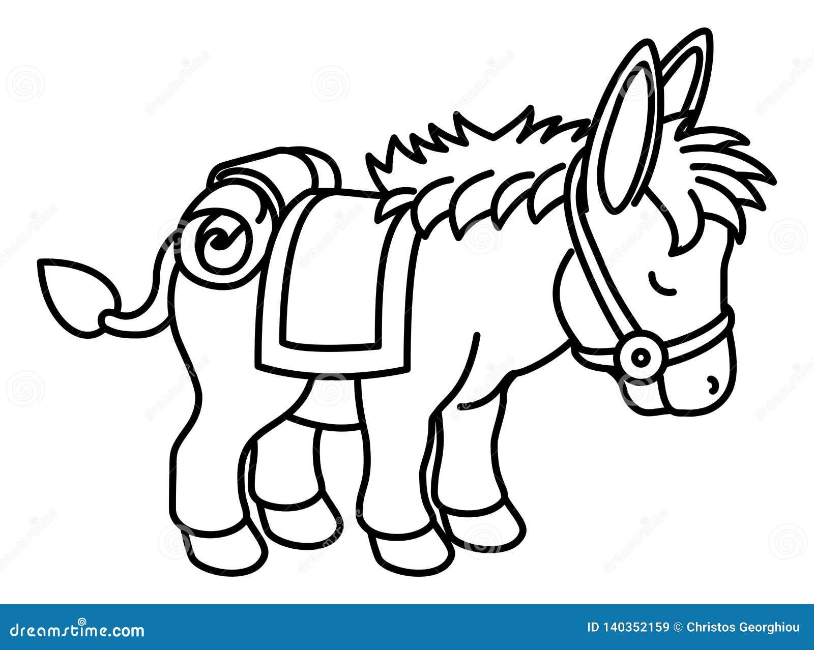 Personaje De Dibujos Animados Animal Del Burro Ilustracion Del