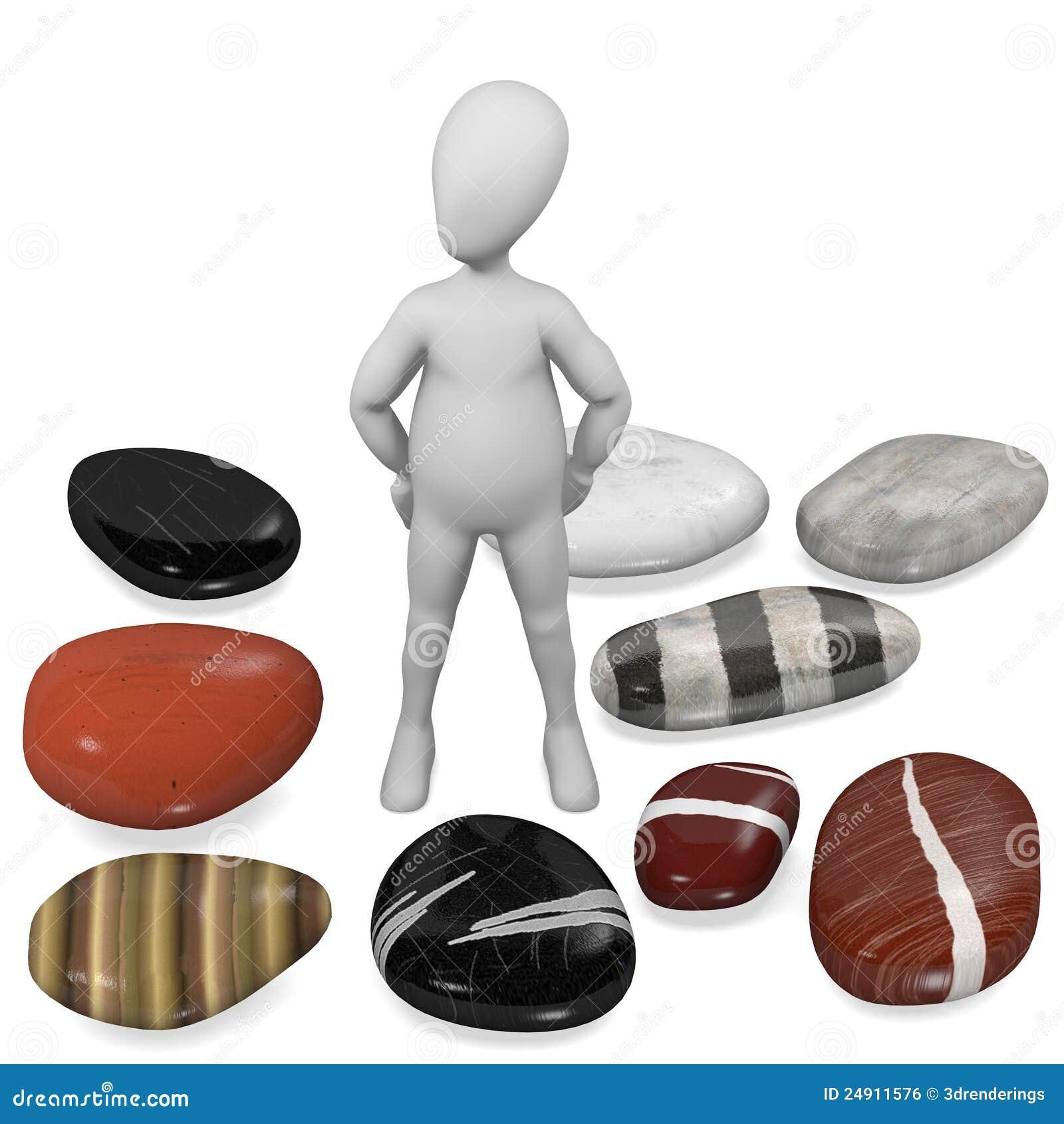 Personaje de dibujos animados con las piedras del r o - Dibujos de piedras ...