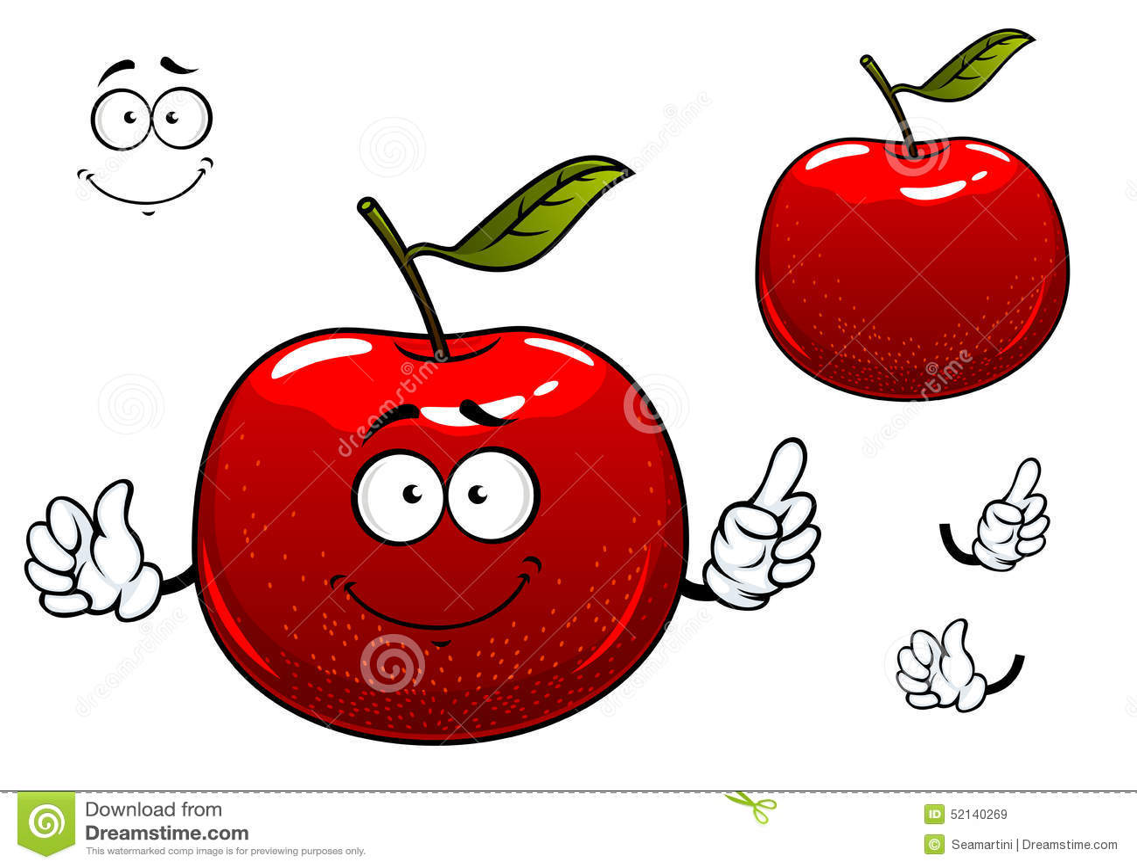 Personaje De Dibujos Animados Crujiente Rojo De La Fruta De La