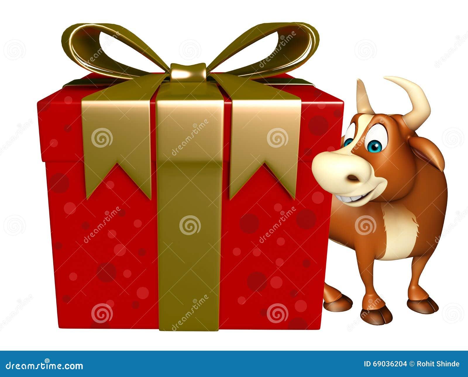 Personaje De Dibujos Animados De Bull Con La Caja De Regalo Stock De