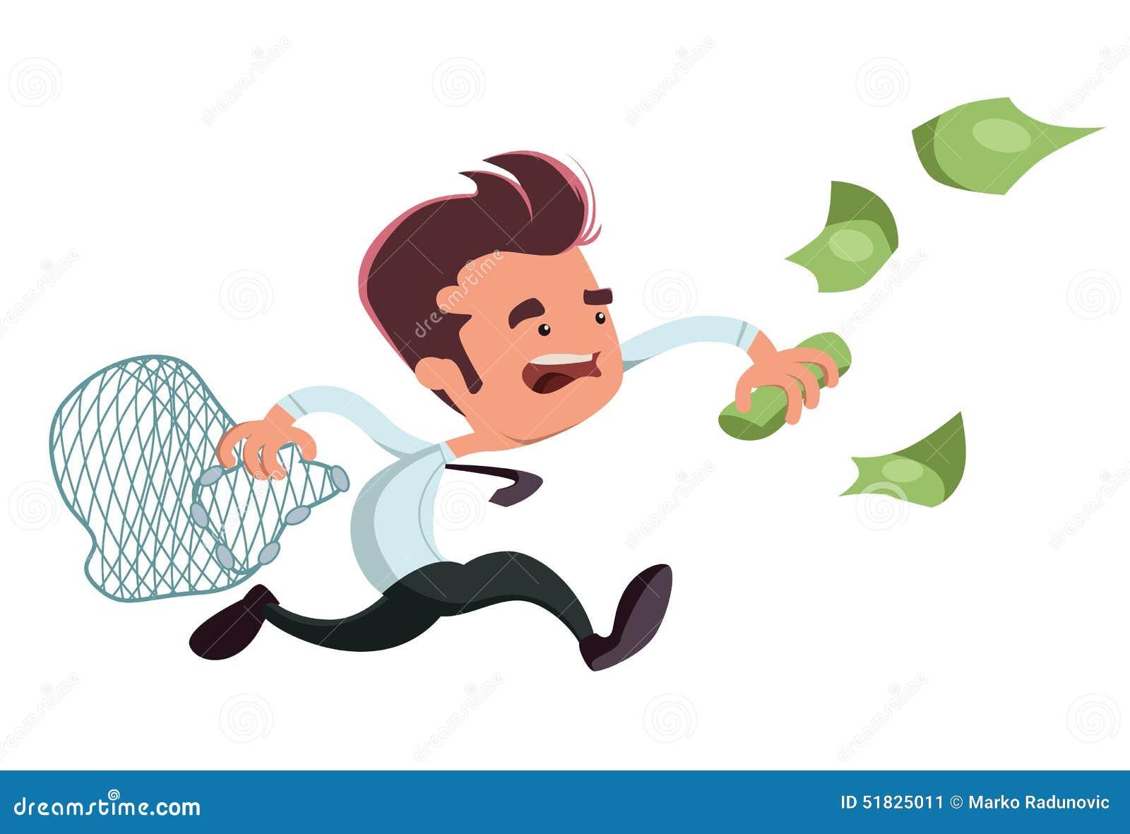 Personaje de dibujos animados de cogida del ejemplo del hombre de negocios del dinero