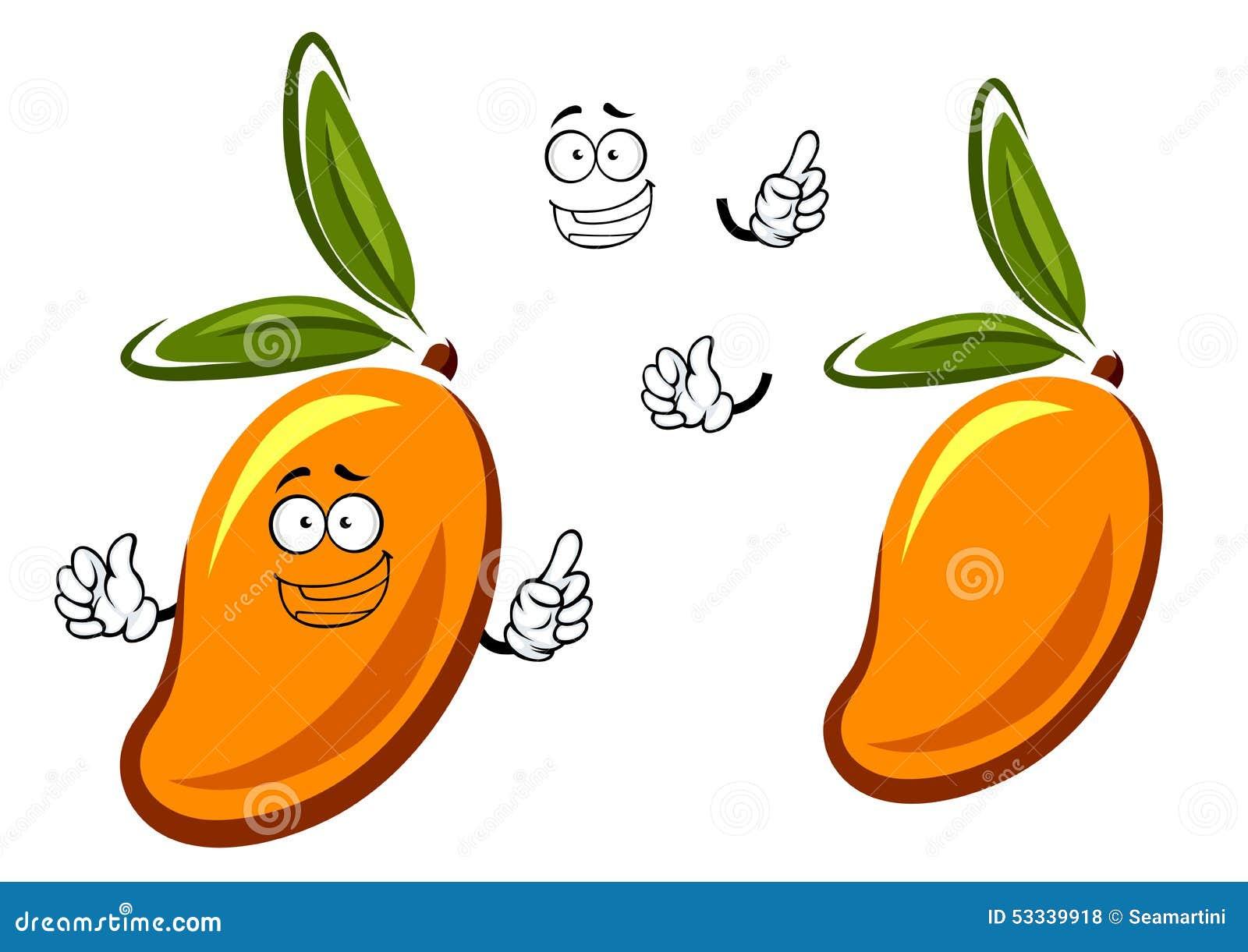 personaje de dibujos animados de la fruta del mango de la naranja