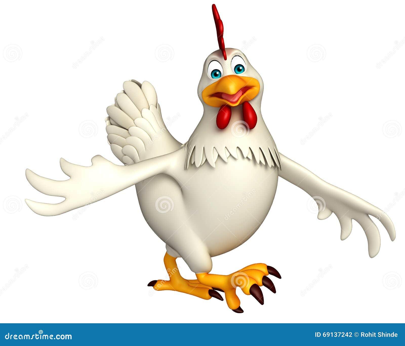 Personaje de dibujos animados la gallina que camina