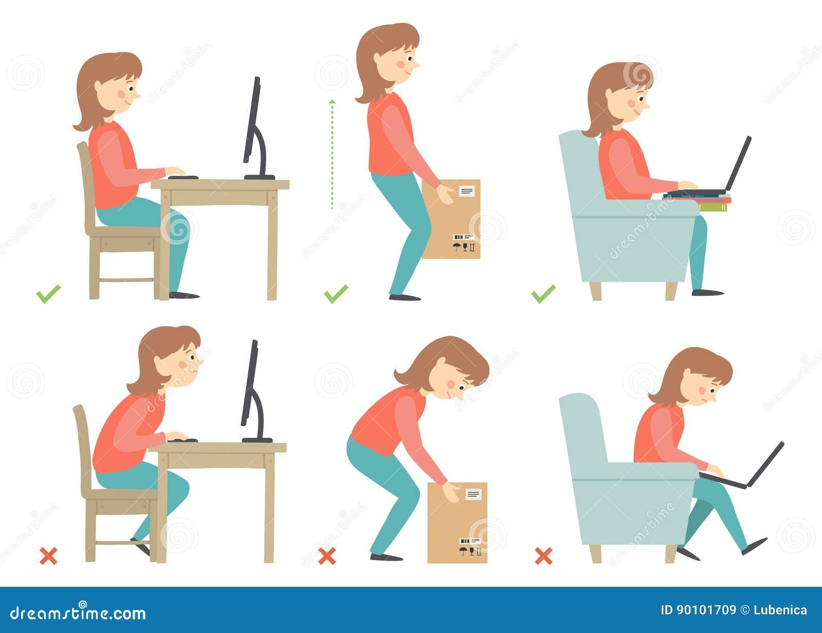 Personaje de dibujos animados de la mujer postura correcta for Sillas para una buena postura