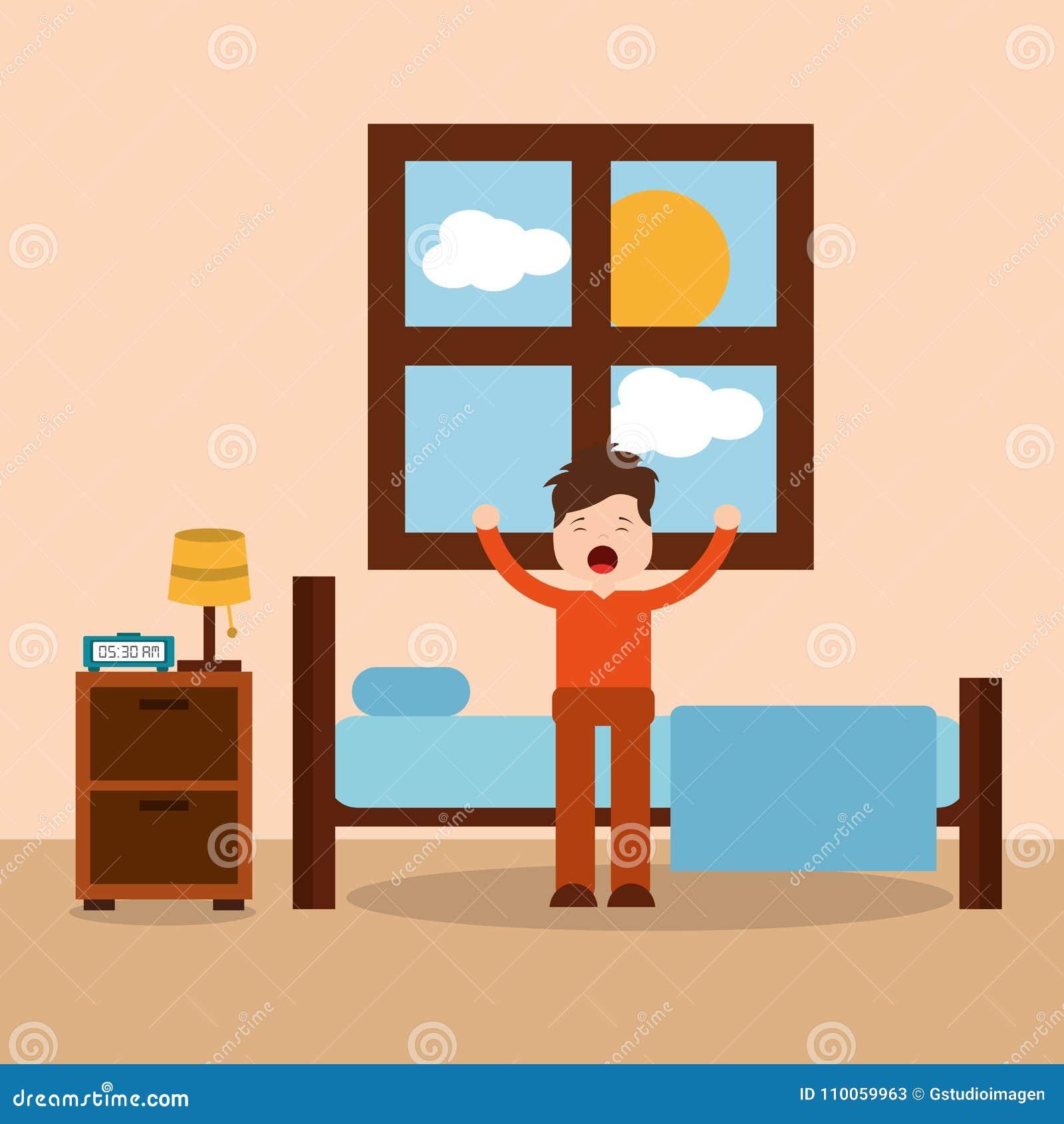 Personaje De Dibujos Animados Del Dormitorio De La Mañana