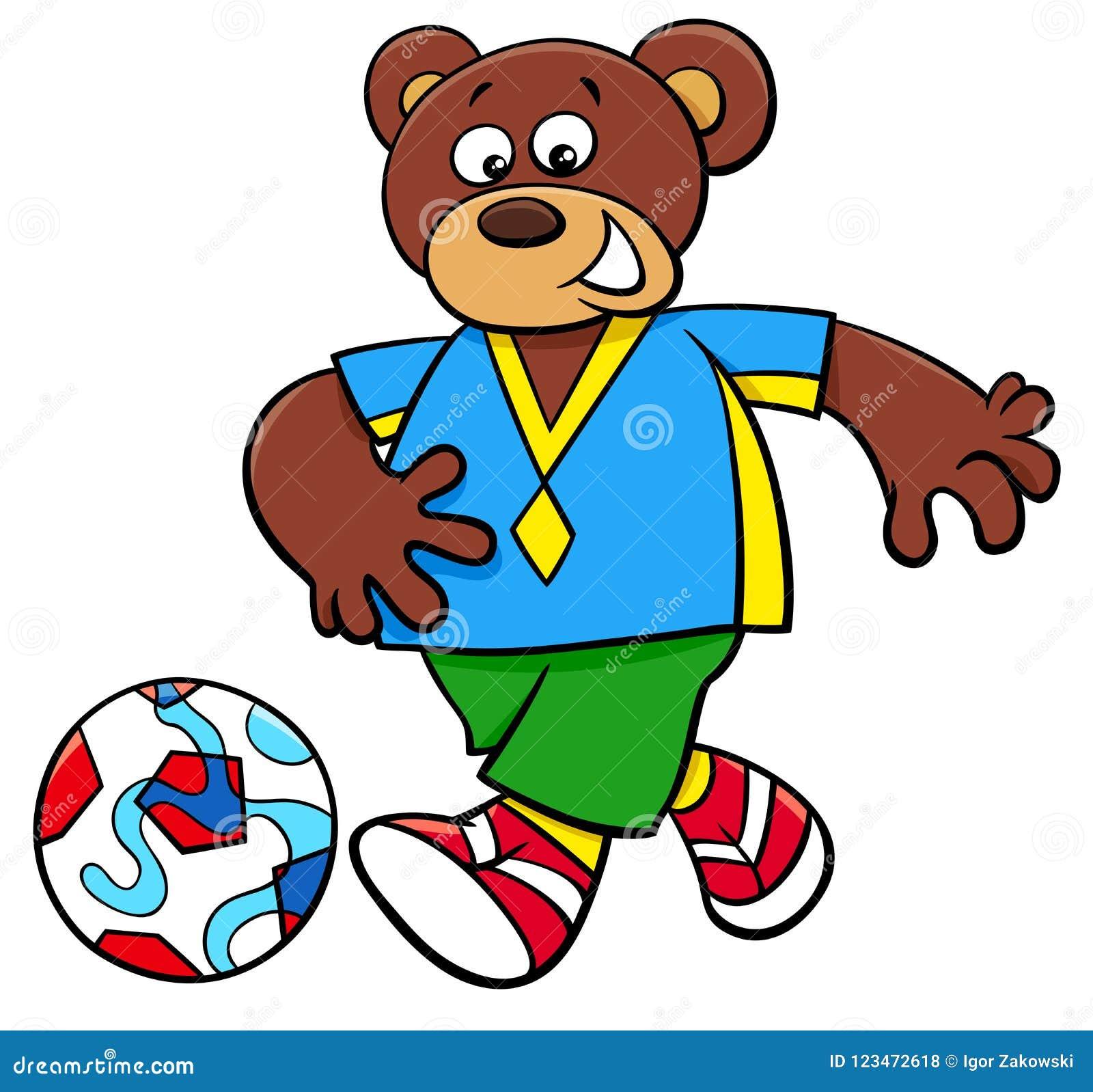 Personaje De Dibujos Animados Del Futbolista Del Oso Ilustración Del