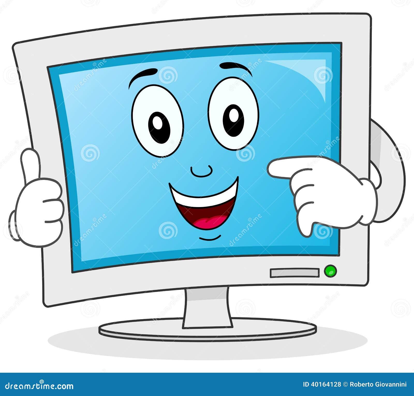 Personaje De Dibujos Animados Del Monitor De Computadora