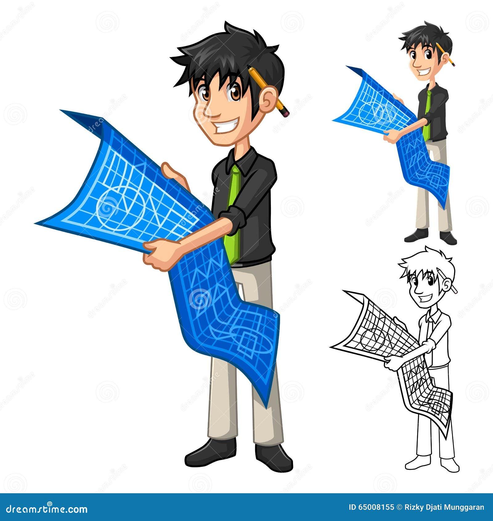 personaje de dibujos animados del plan del mapa de holding blue print del arquitecto del hombre. Black Bedroom Furniture Sets. Home Design Ideas