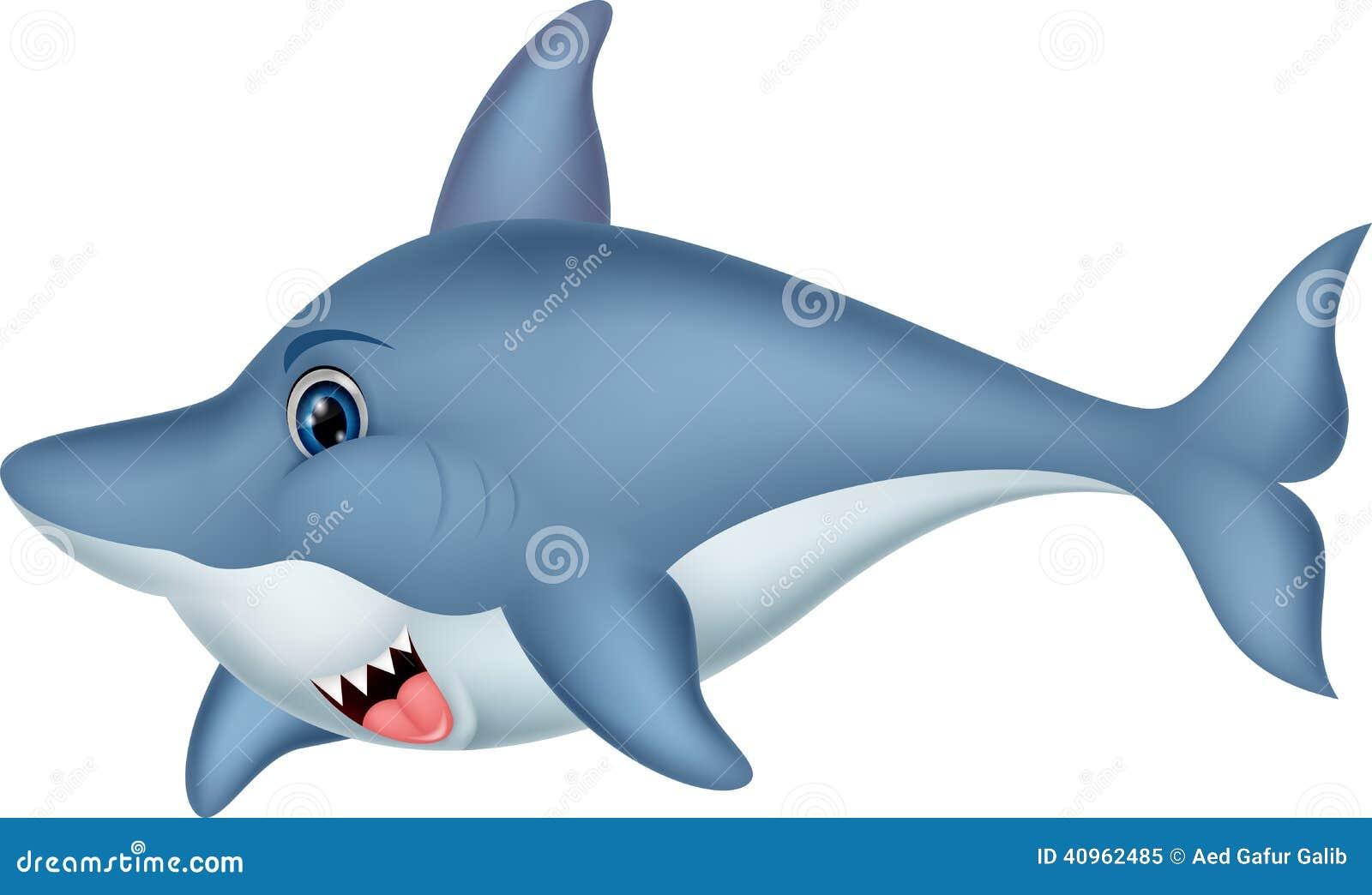 Personaje De Dibujos Animados Del Tiburón Ilustración